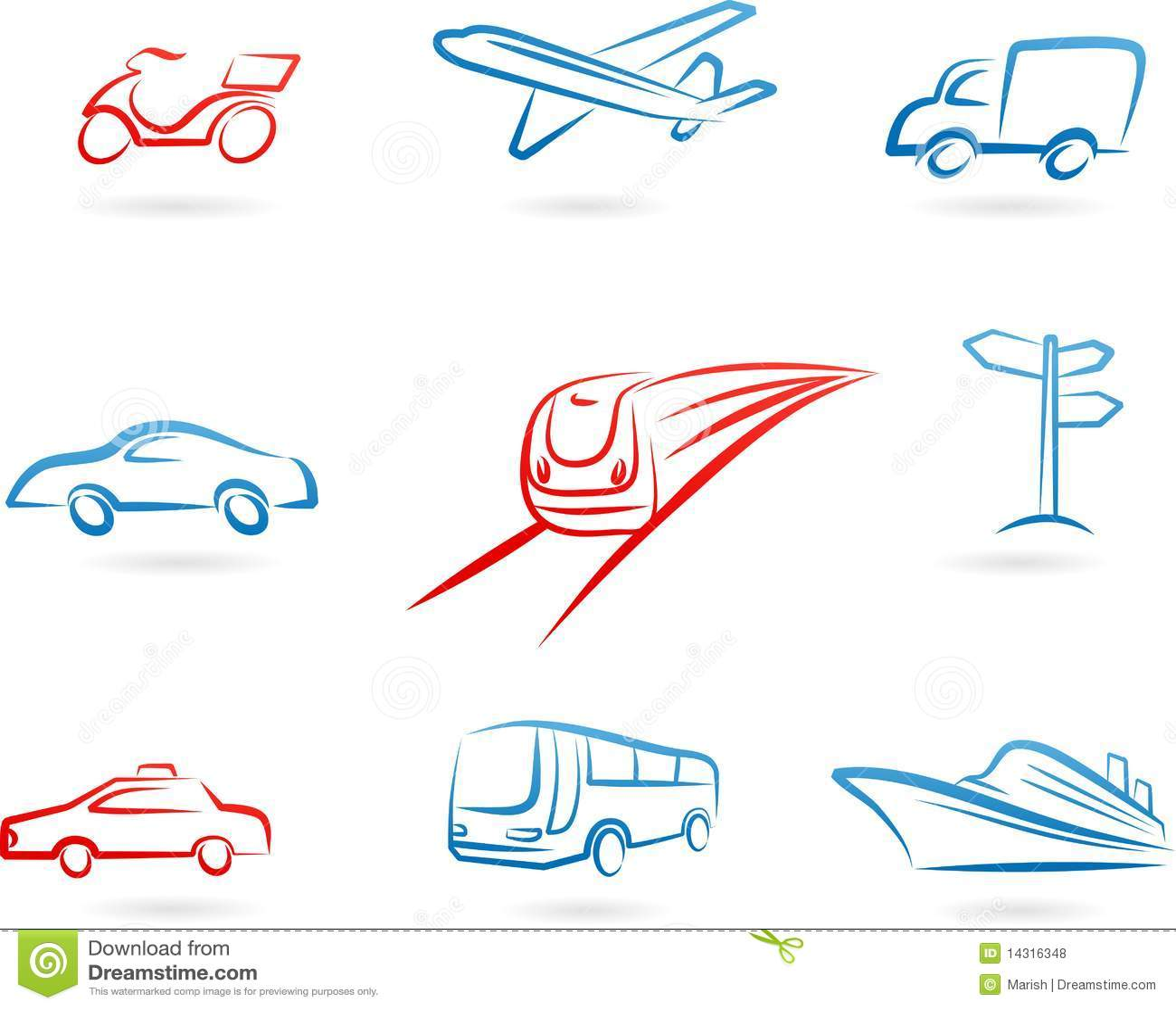 De reeks van het het conceptenpictogram van het vervoer