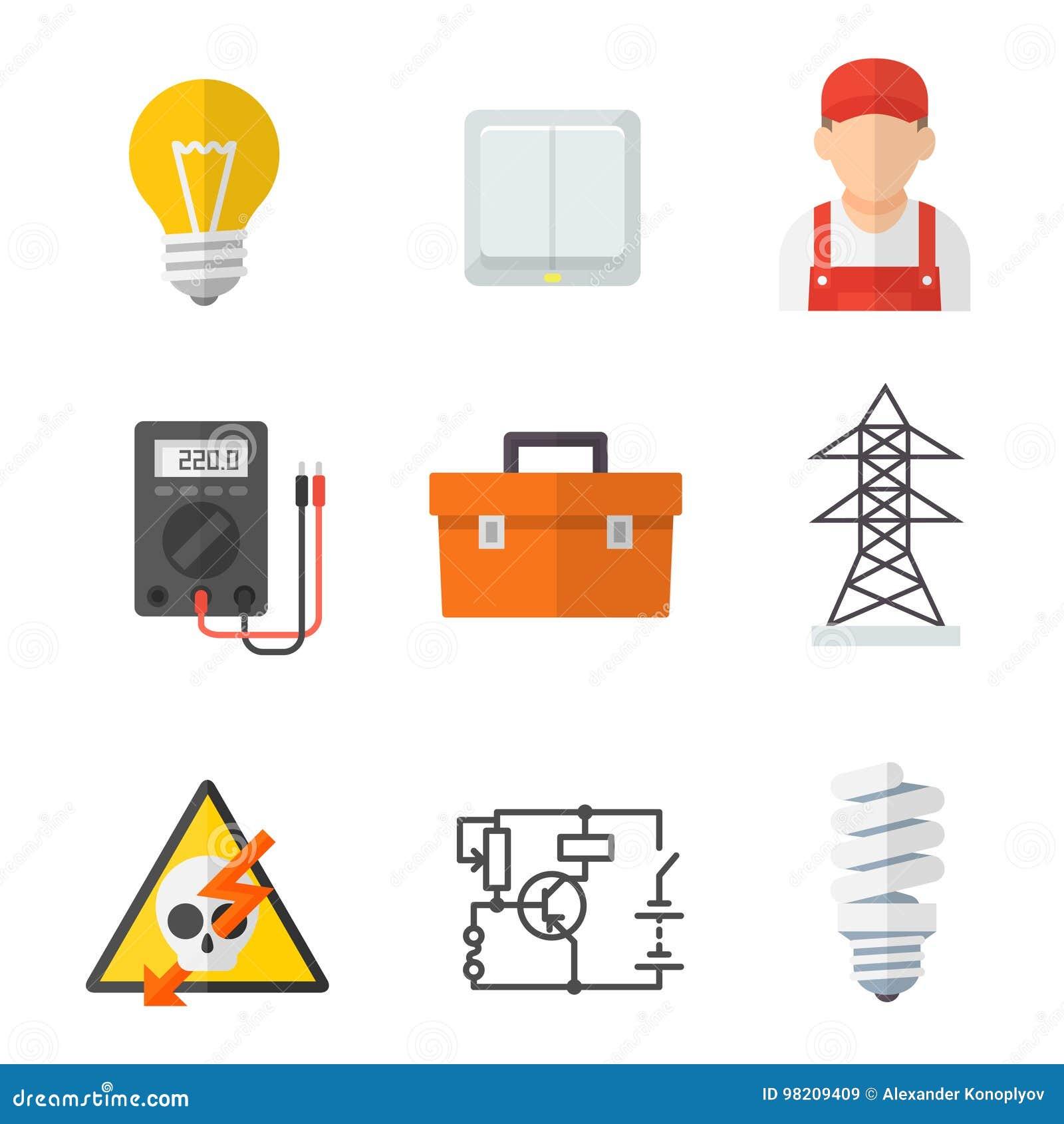 De reeks van het het pictogrambeeldverhaal van de elektricienindustrie
