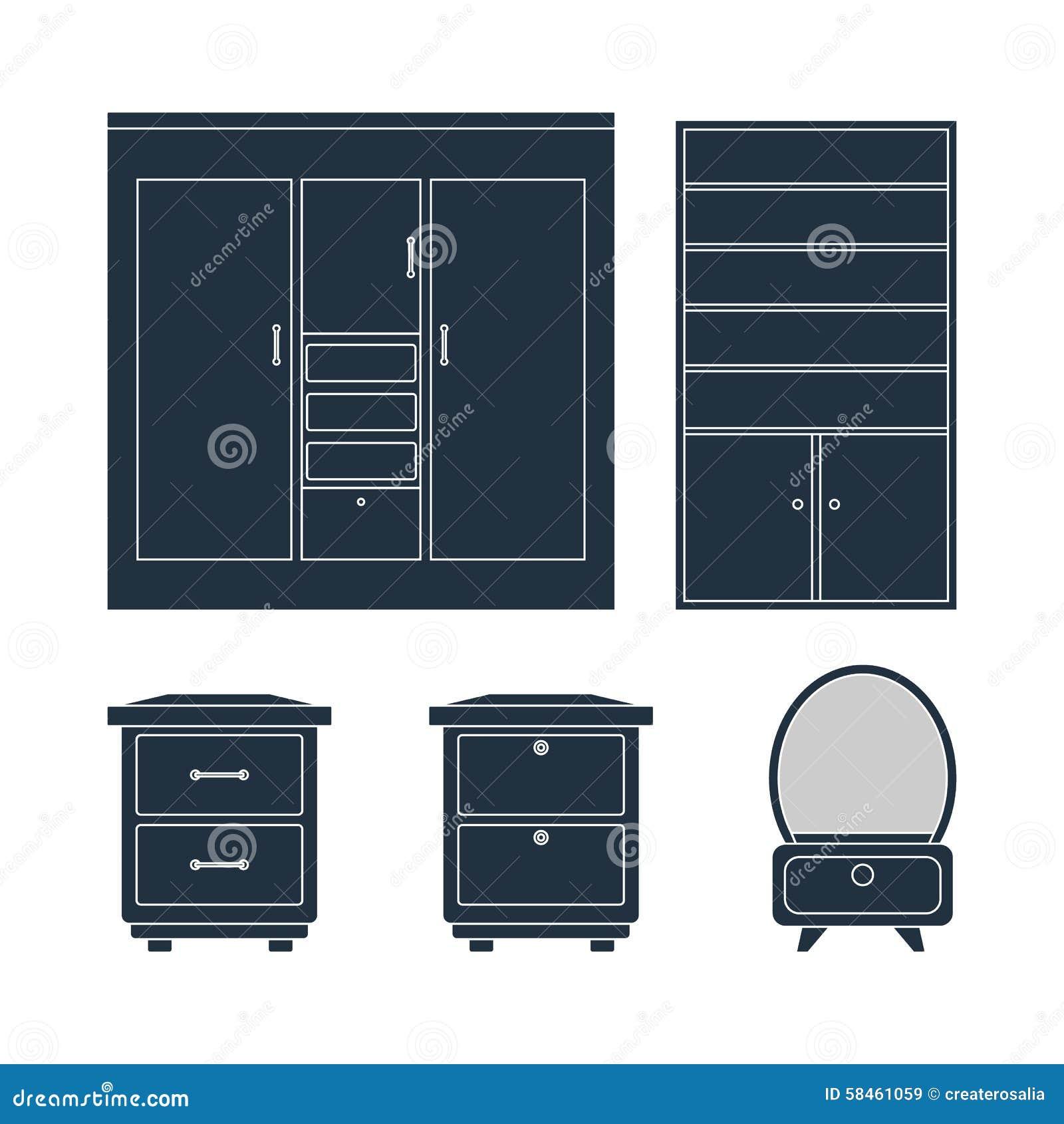De reeks van het huismeubilair de lijsten van het garderobebed en spiegel vector illustratie - Meubilair van de ingang spiegel ...