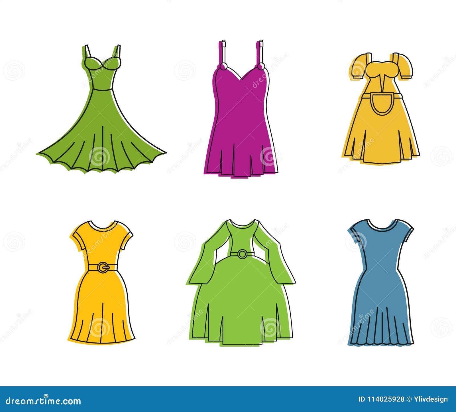 De reeks van het kledingspictogram, de stijl van het kleurenoverzicht