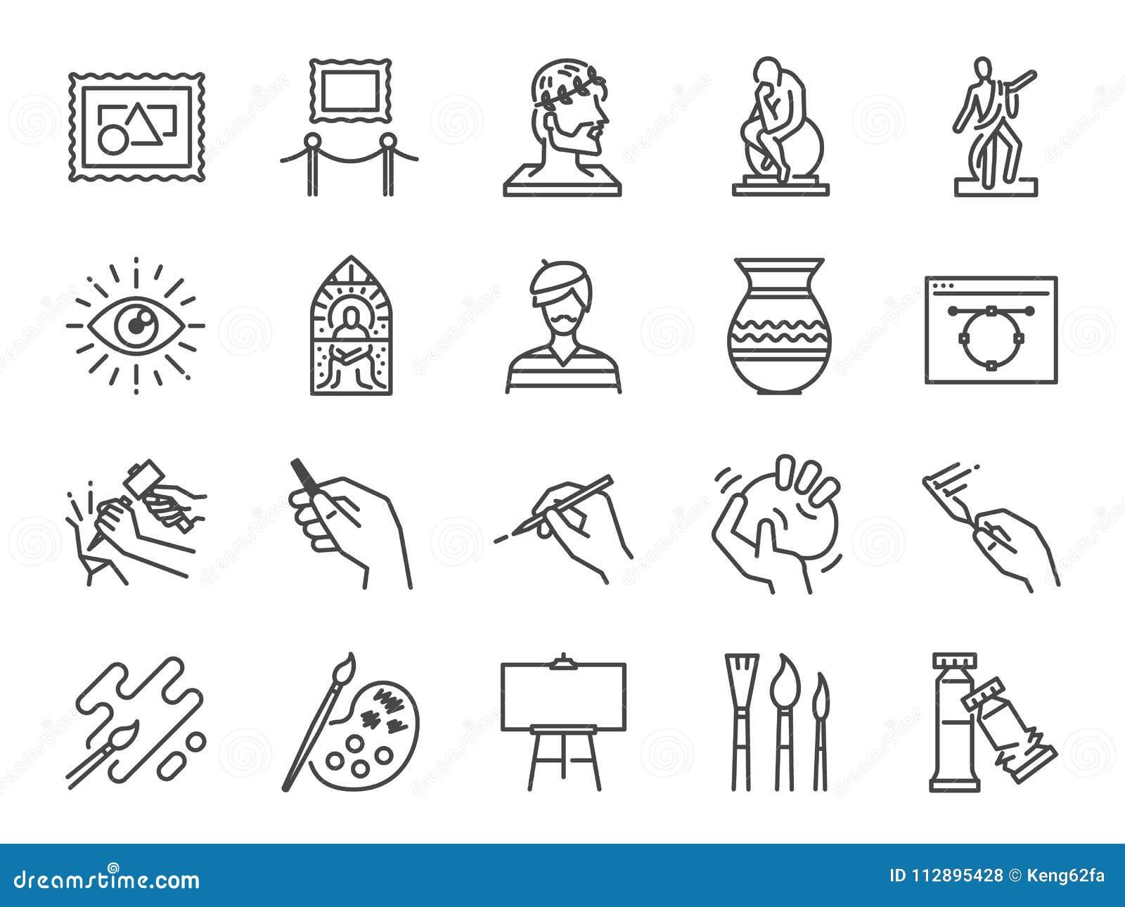 De reeks van het kunstpictogram Omvatte de pictogrammen als artistieke kunstenaar, kleur, verf, beeldhouwwerk, standbeeld, beeld,