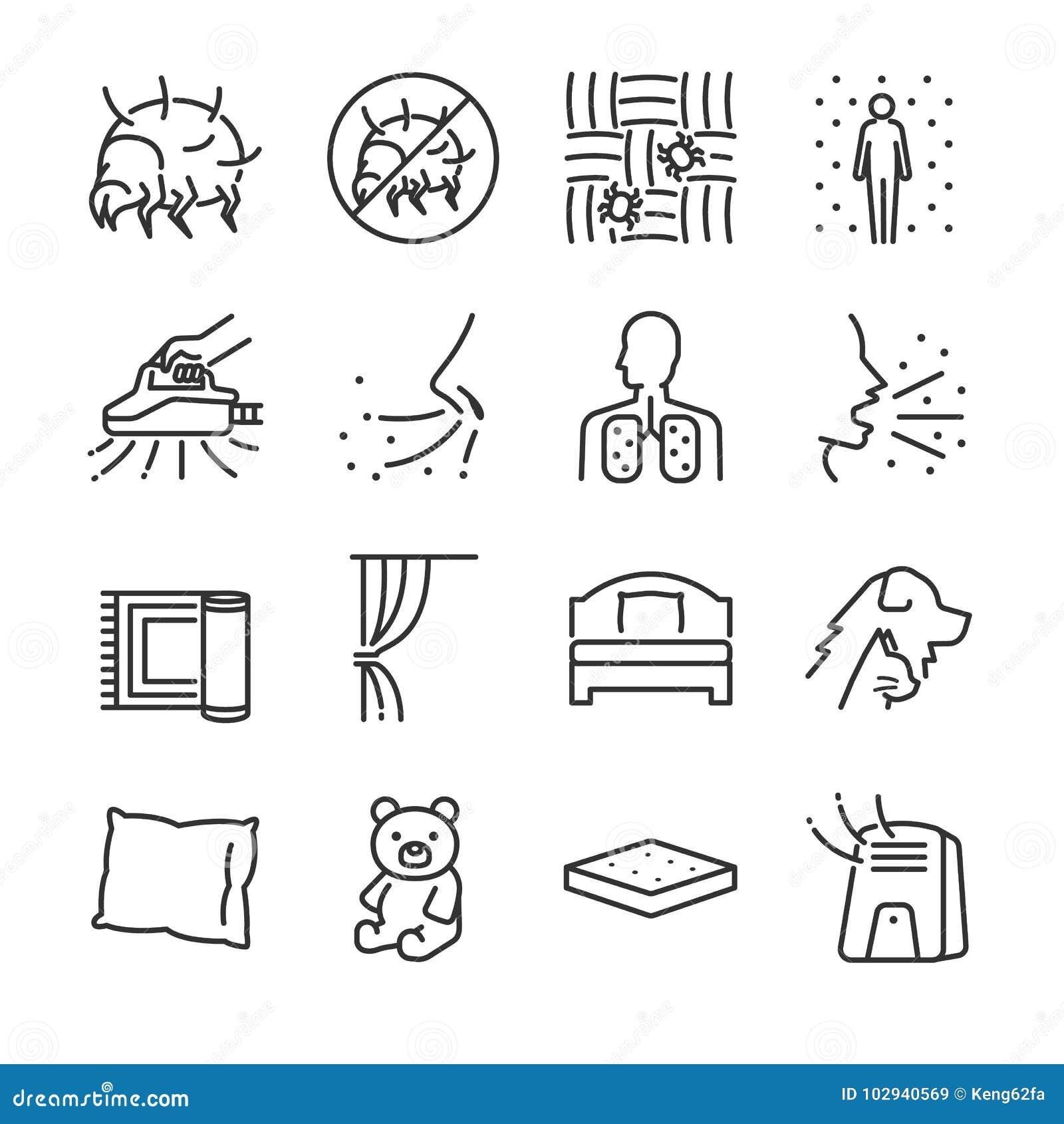 De reeks van het de lijnpictogram van stofmijten Omvatte de pictogrammen als stofmijten, vlo, bedinsecten, slaapkamer, bed, insec