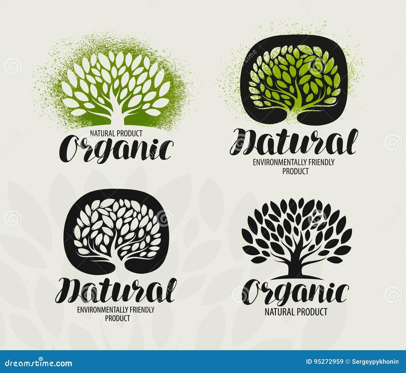 De reeks van het natuurlijke, biologisch productetiket Boom met bladerenpictogram of embleem Het met de hand geschreven van lette