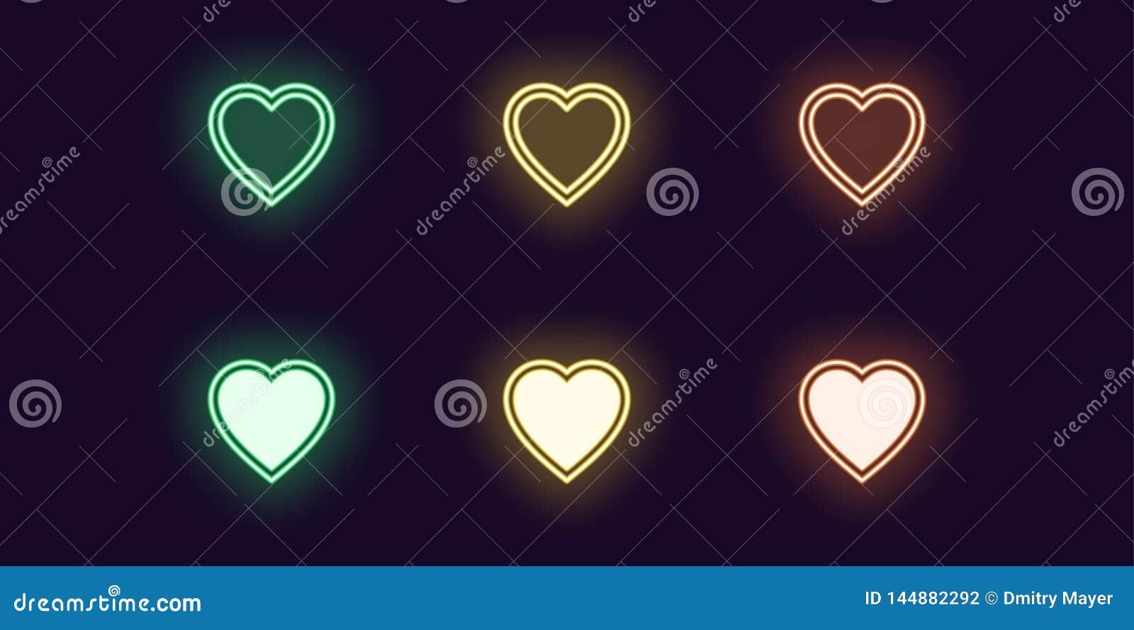 De reeks van het neonpictogram van Manierhart Het gloeien Liefde