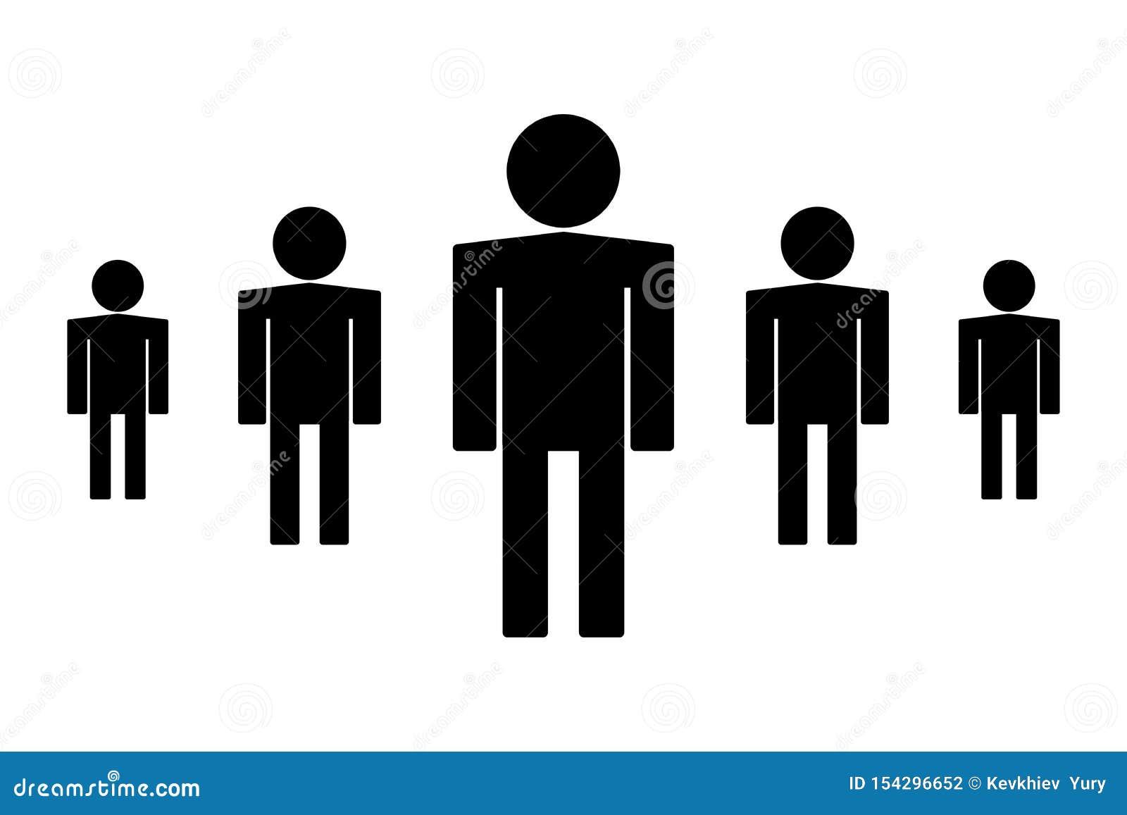 De reeks van het persoonspictogram op zwarte achtergrond wordt geïsoleerd die De vectorillustratie van het mensensymbool