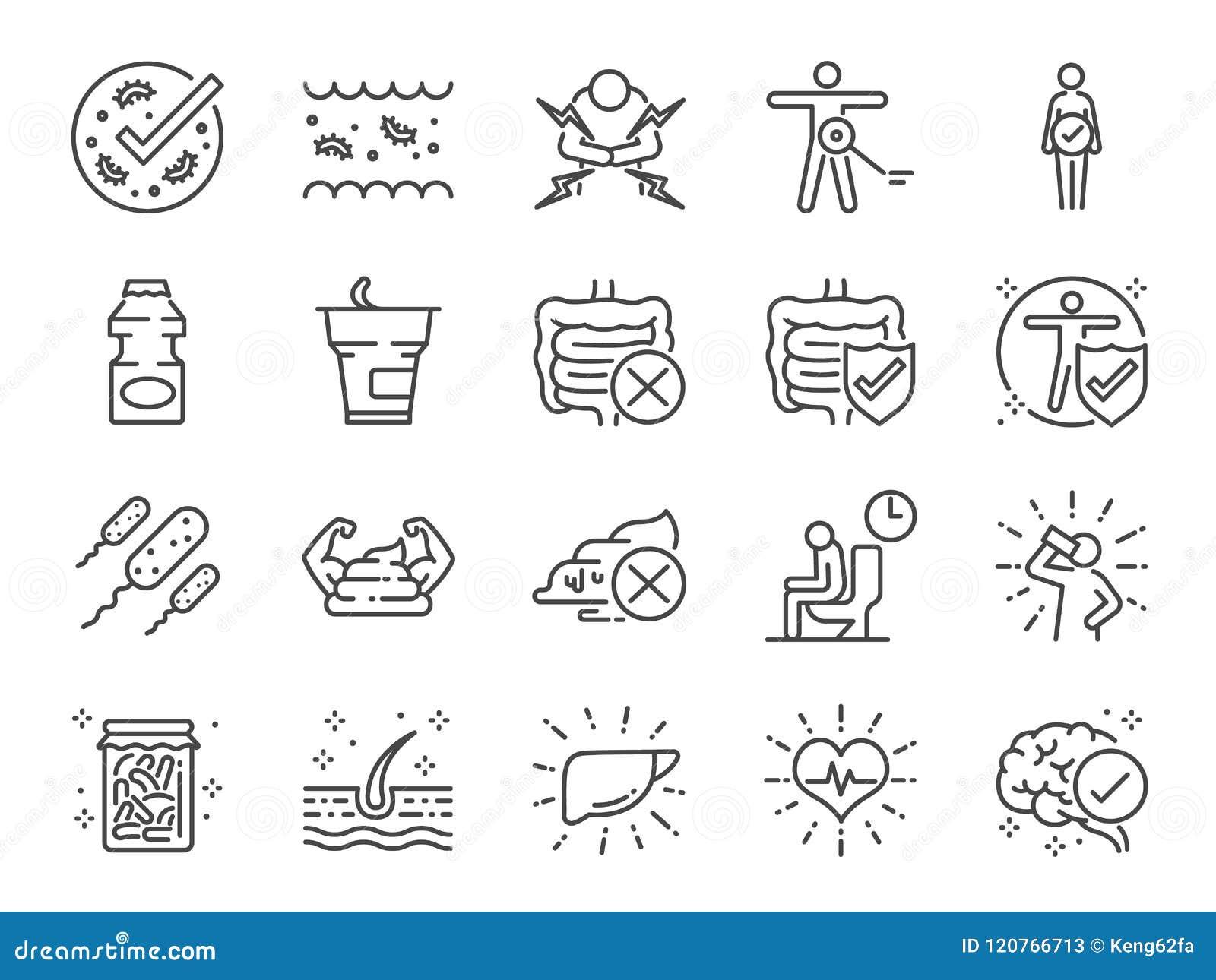 De reeks van het Probioticspictogram Inbegrepen pictogrammen als intestinale flora, intestinaal, bacteriën, gezond, yoghurt, darm