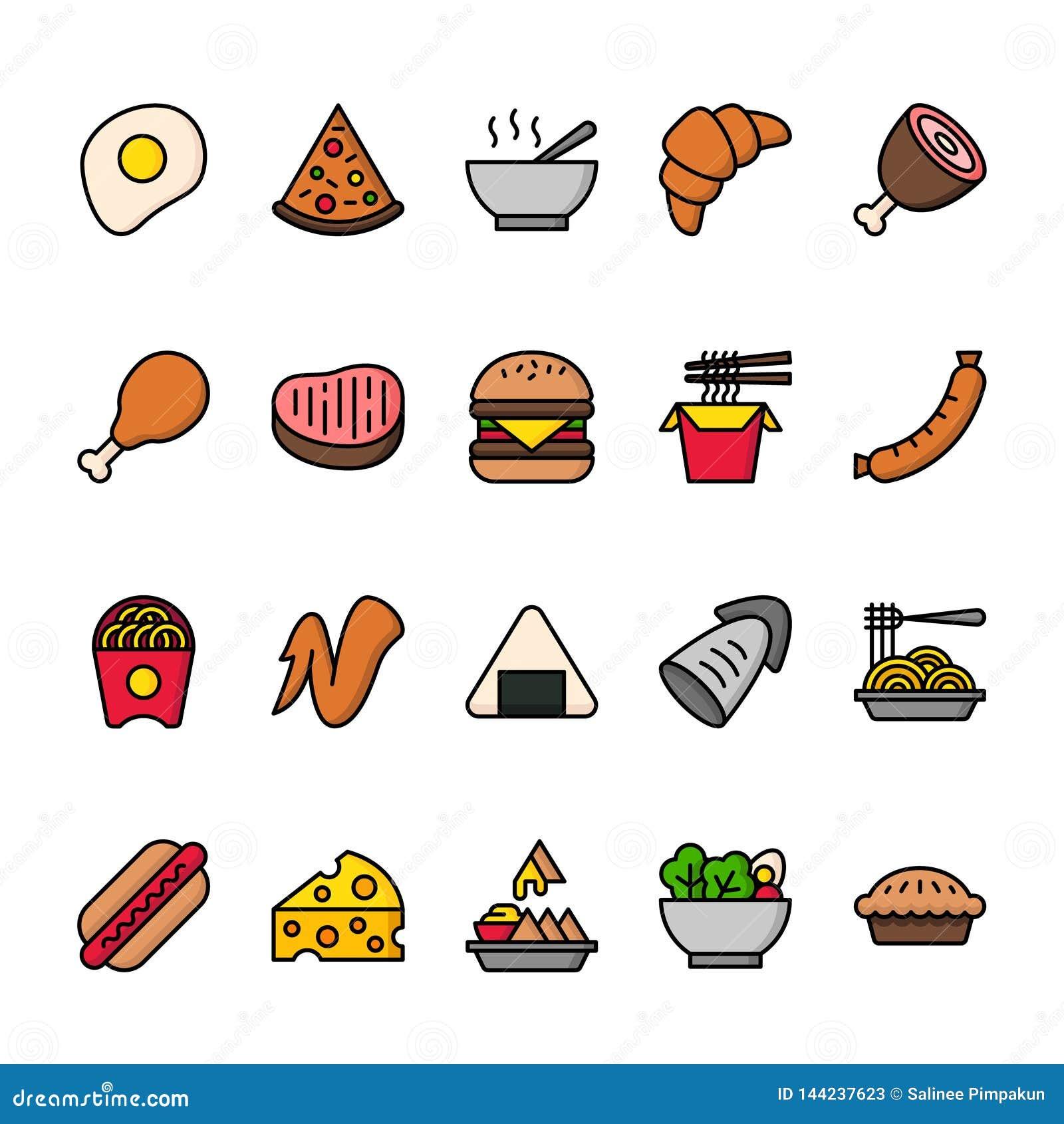 De reeks van het rassenbarrièrepictogram van Voedsel Pixel perfecte pictogrammen