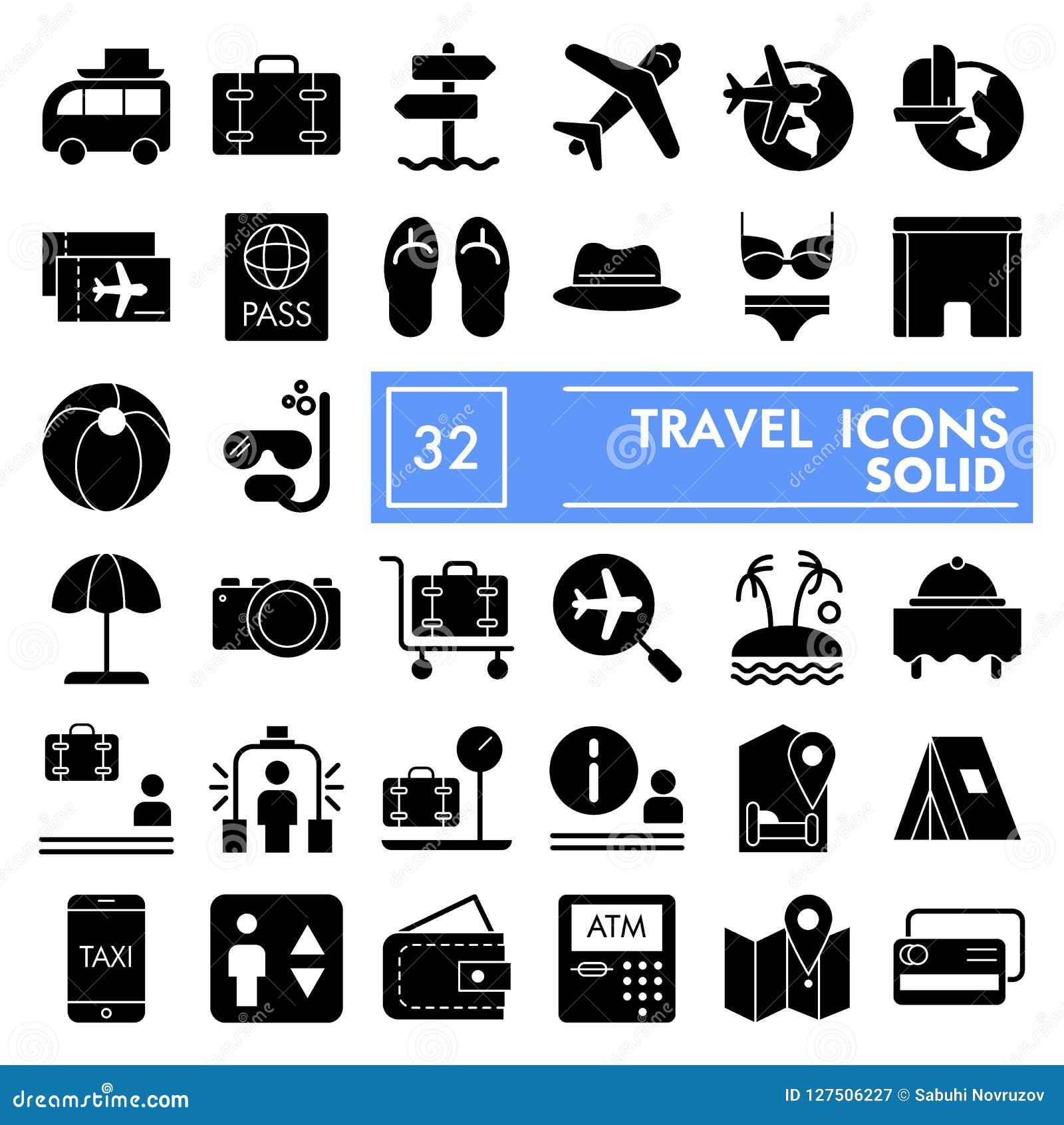 De reeks van het reis glyph pictogram, de inzameling van vakantiesymbolen, vectorschetsen, embleemillustraties, toerisme ondertek