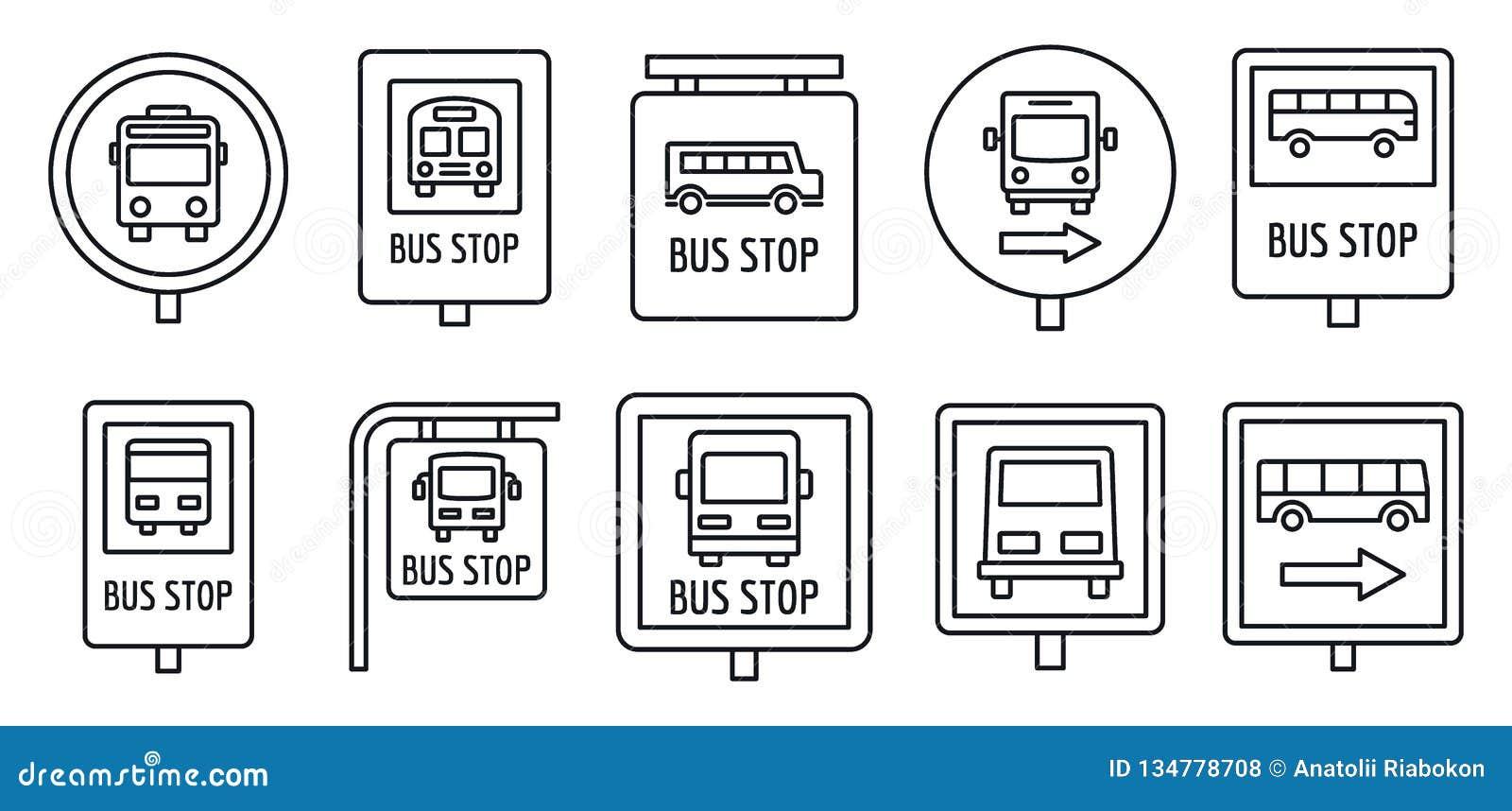 De reeks van het het tekenpictogram van de stadsbushalte, overzichtsstijl