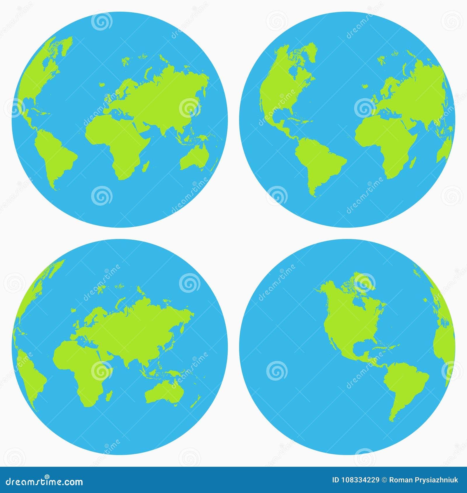 De reeks van het wereldpictogram De inzameling van de aardebol, planeet Vector