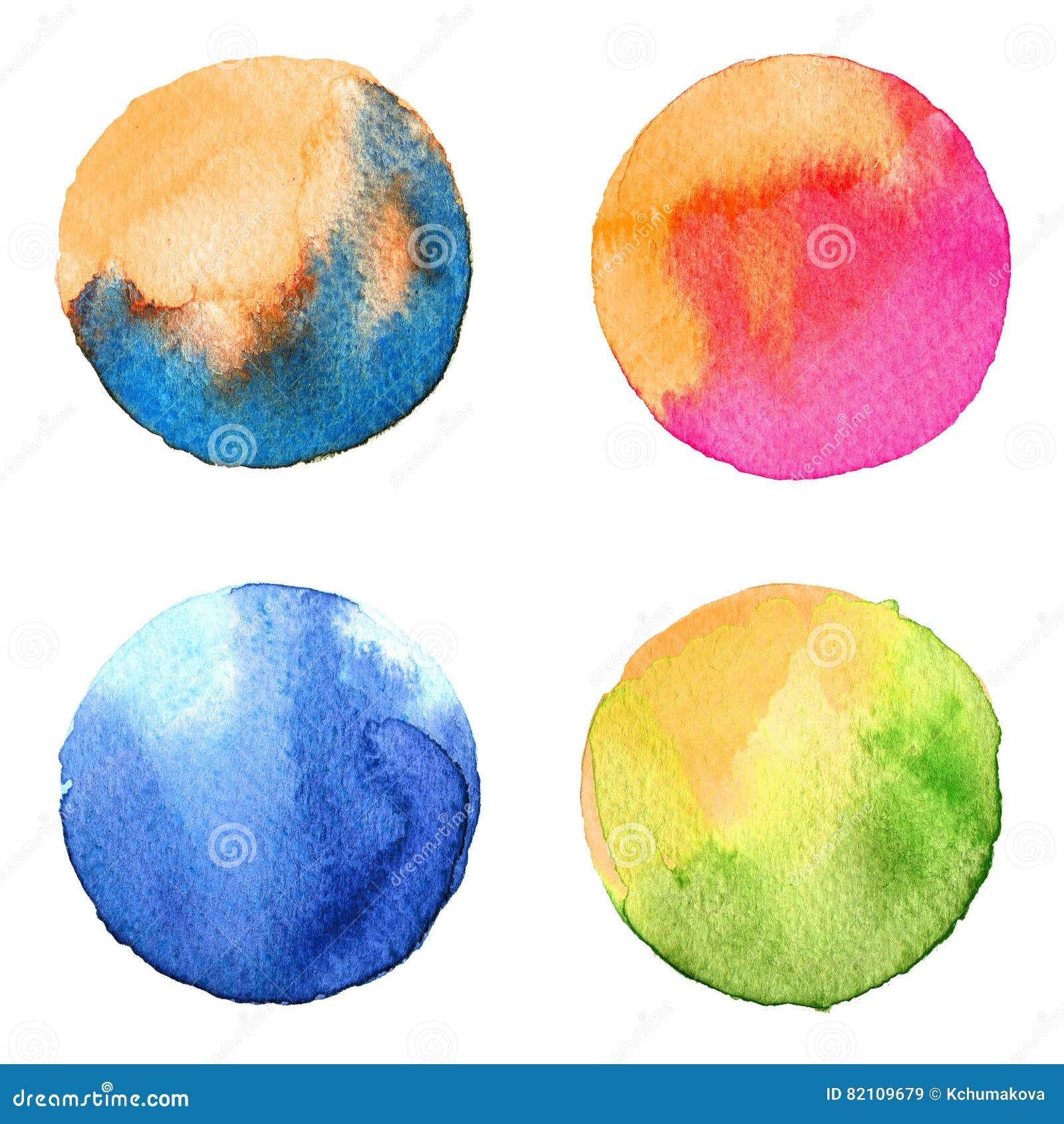 De reeks van kleurrijke die waterverfhand schilderde cirkel op wit wordt geïsoleerd Illustratie voor artistiek ontwerp Ronde vlek