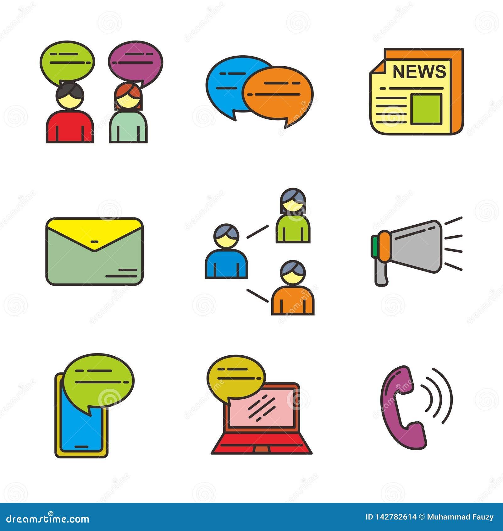 De reeks van mededeling bracht vectorillustratie met elkaar in verband Communicatie pictogrammen