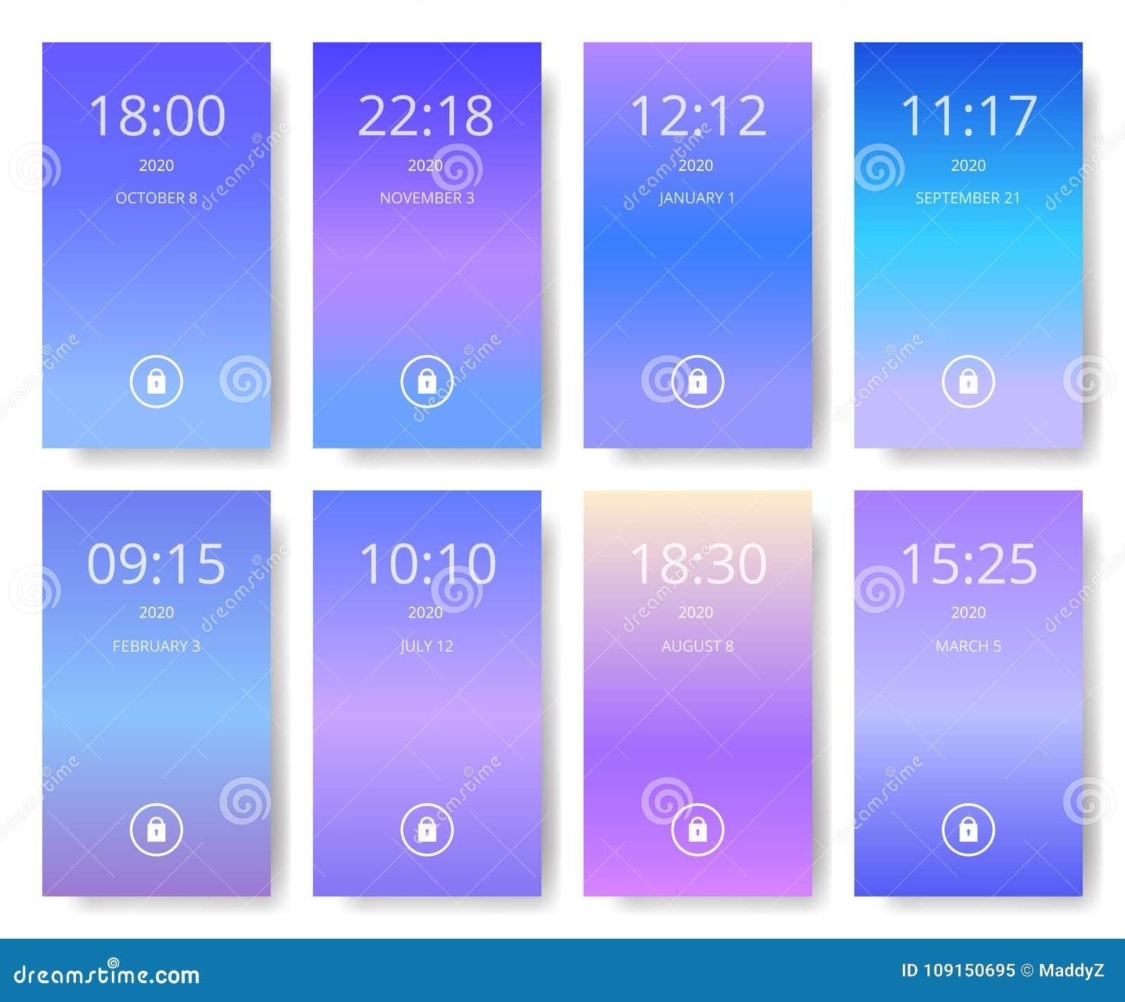 De reeks van modern gebruikersinterface, ux, ui onderzoekt behang voor slimme telefoon Mobiele Toepassing Ultraviolet, purple en