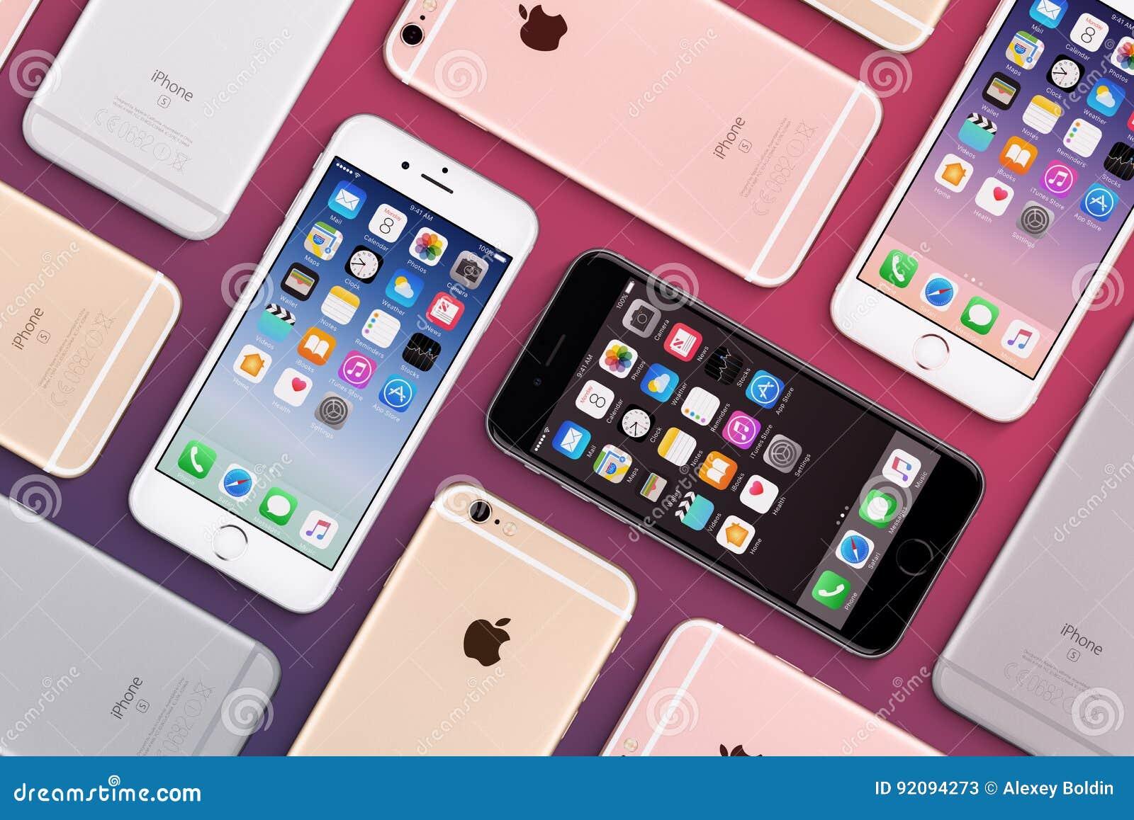 De reeks van multicolored vlakte van Apple iPhones 6s legt hoogste mening met iOS 10 op het scherm