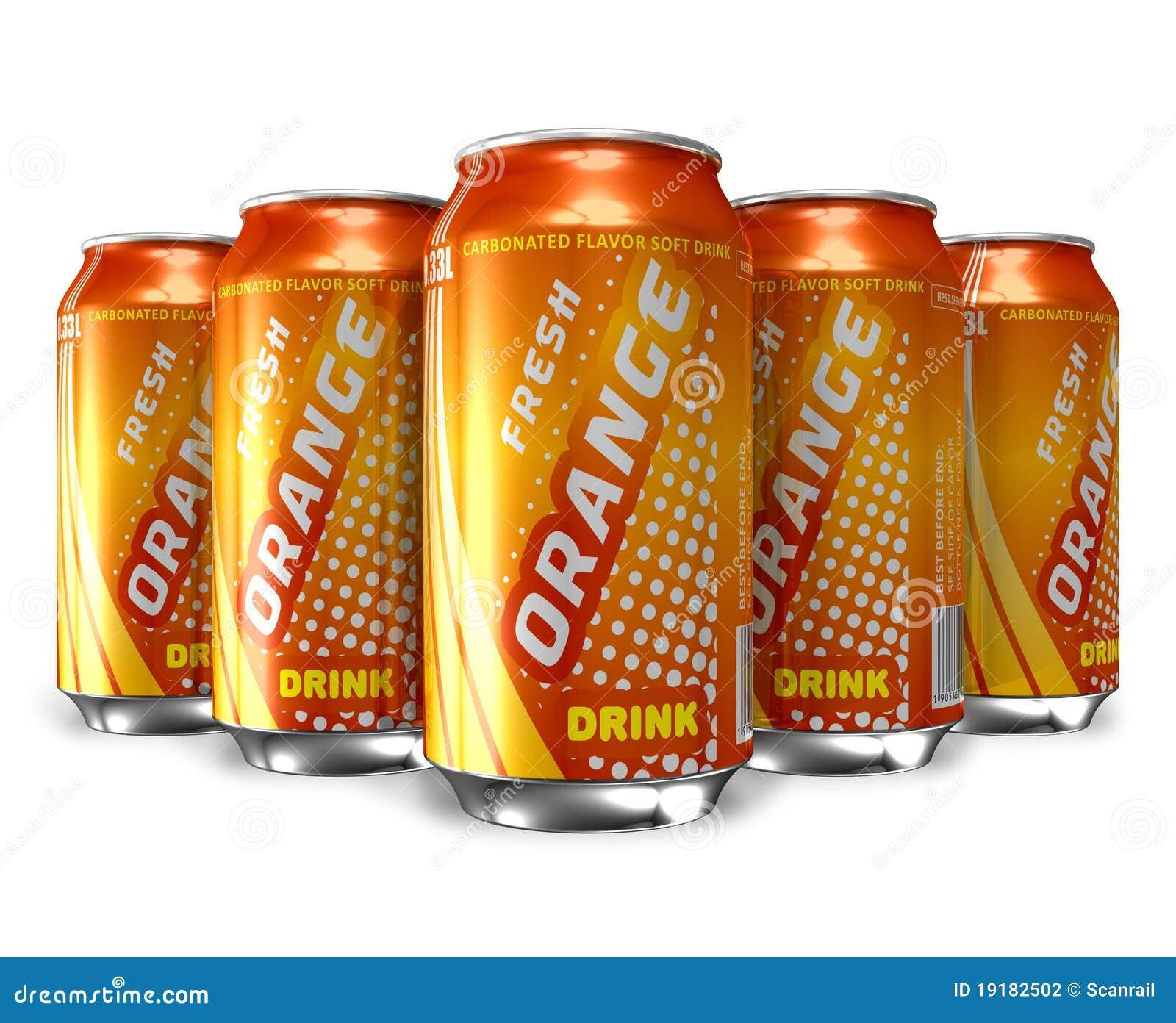 De reeks van oranje soda drinkt in metaalblikken