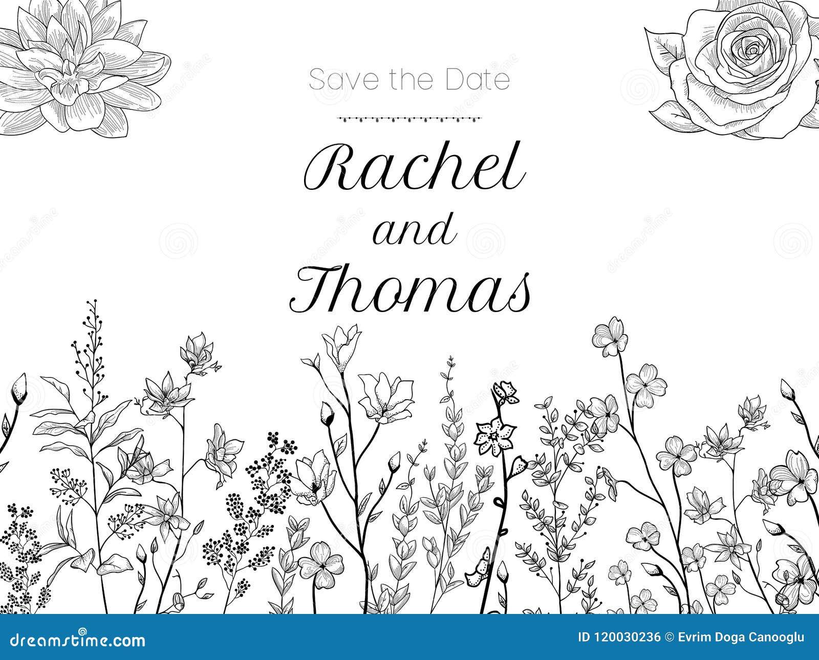 De reeks van de uitnodiging van de huwelijkspartij en bewaart de malplaatjes van de Datumkaart met Lelietje-van-dalenbloemen over