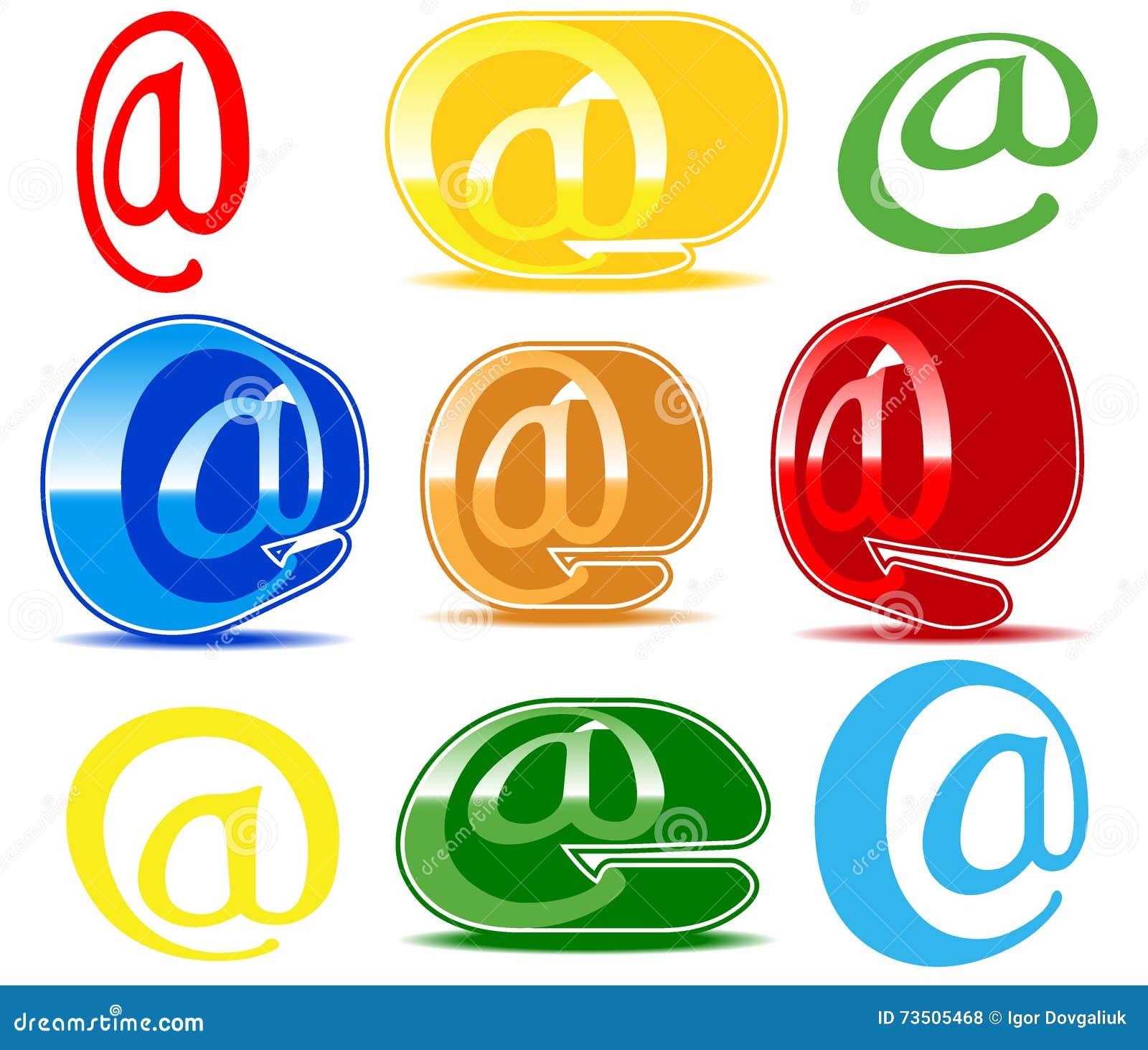 De reeks van varicoloured e-mailpictogrammen