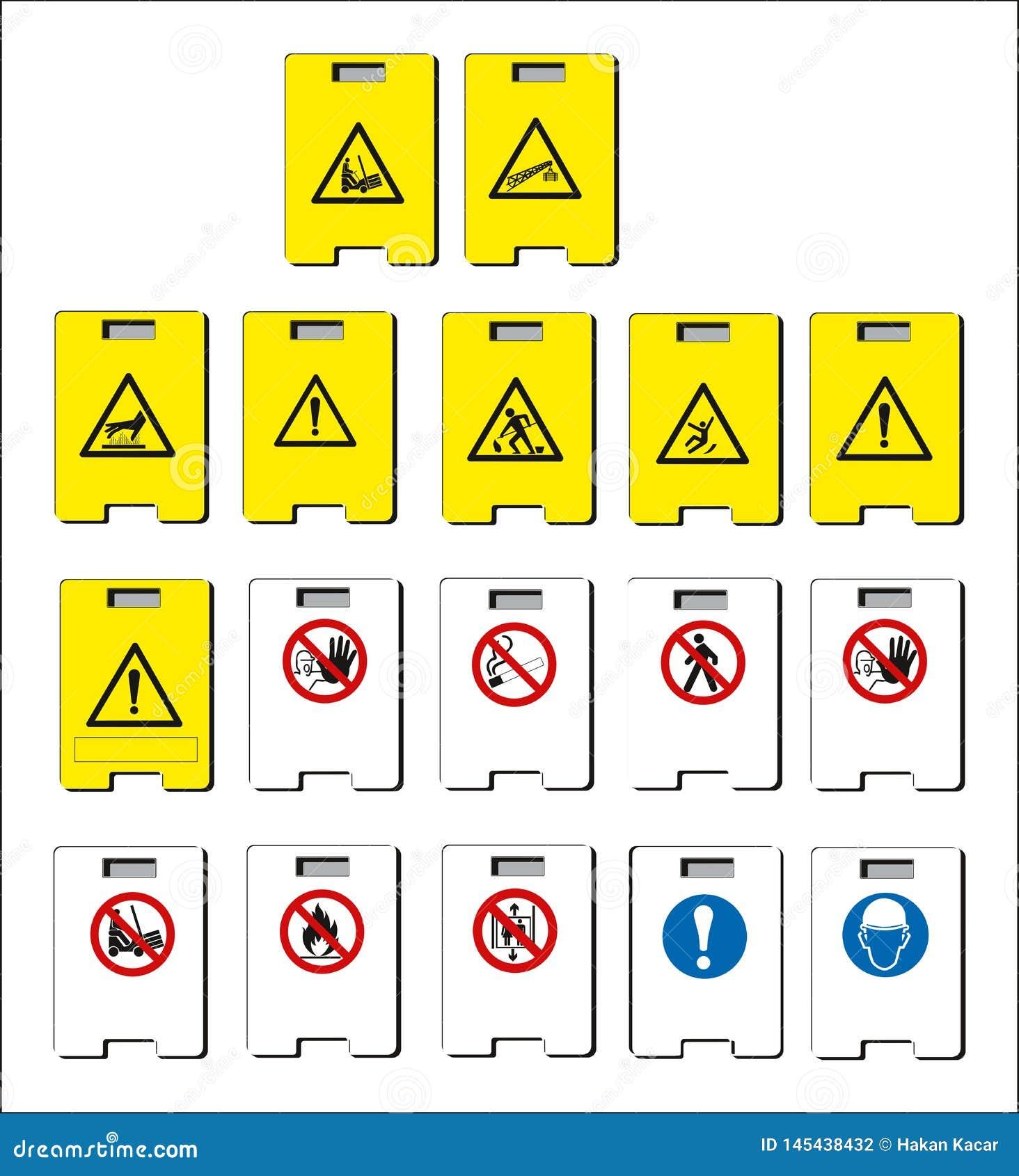De reeks van verplicht teken, gevaarteken, belemmerde teken, bedrijfsveiligheid en gezondheidssignaleringen, waarschuwend uithang