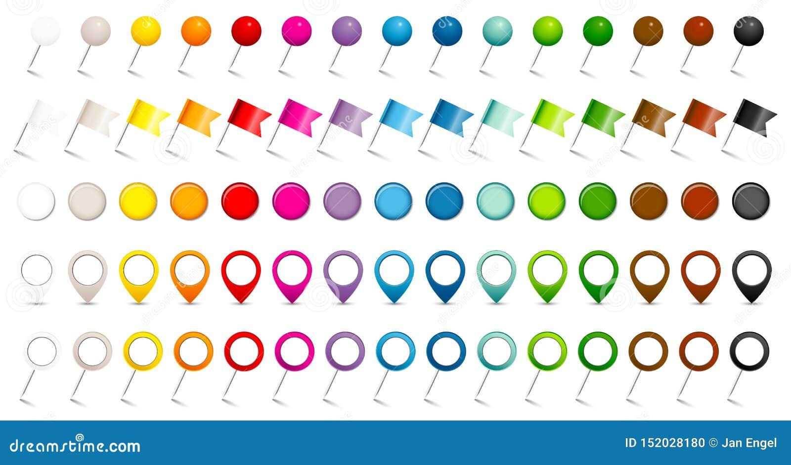 De reeks van Vijf Verschillende Spelden markeert Wijzers en Magneten Vijftien Kleuren