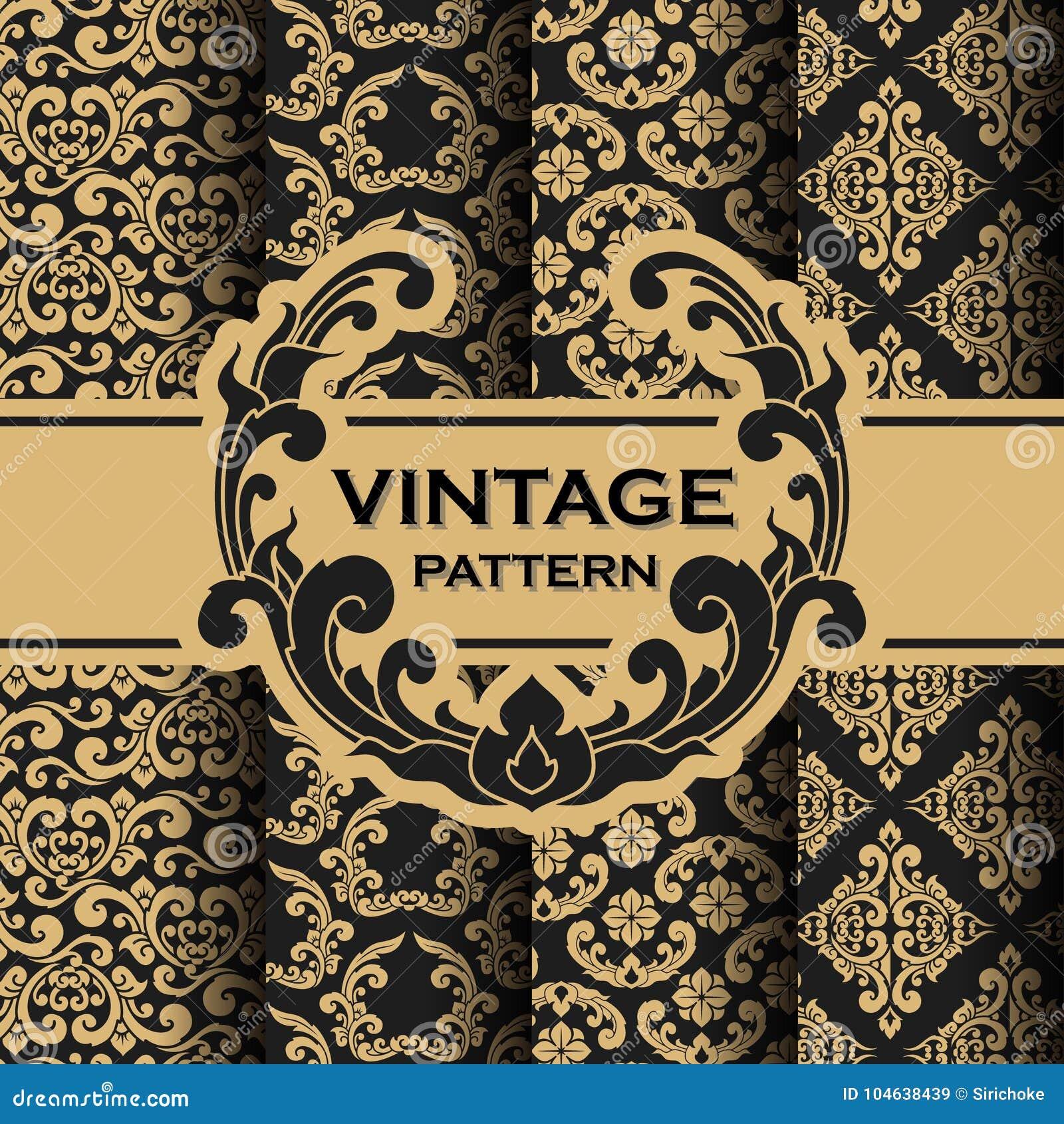 Download De Reeks Van Wijnoogst Bloeit Achtergrond Van Het Wijnstok De Naadloze Patroon Vector Illustratie - Illustratie bestaande uit achtergrond, antiquiteit: 104638439