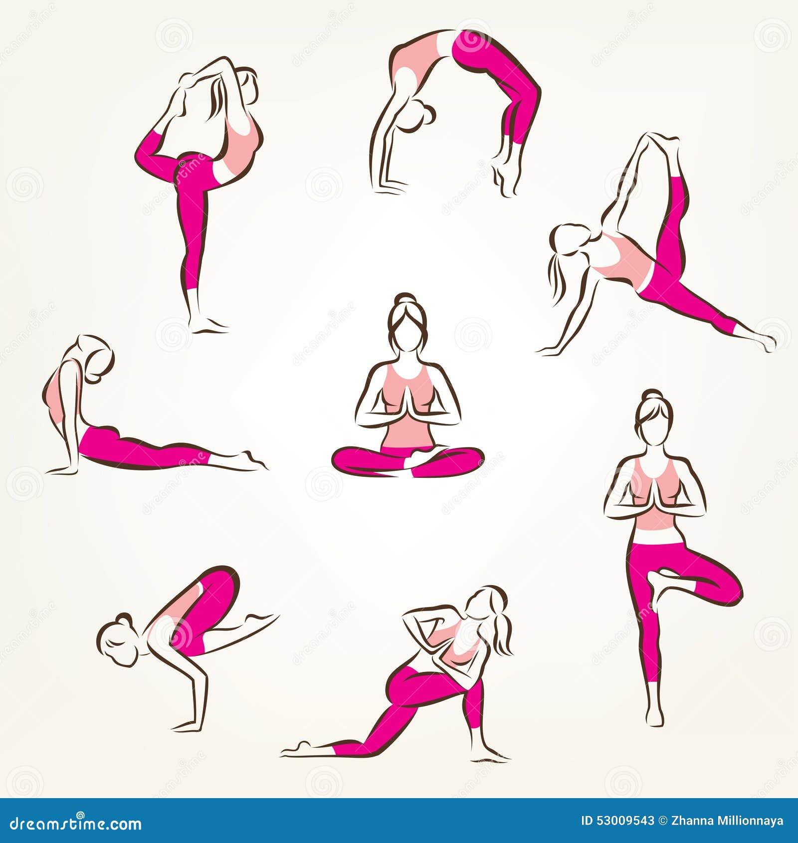 De Reeks Van Yoga En Pilates Stelt Symbolen Vector