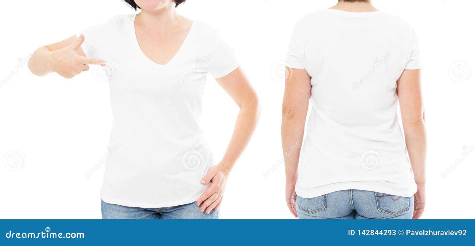 De reeks van de de zomert-shirt die op wit, vrouw wordt geïsoleerd richtte op t-shirt, meisjespunt op t-shirt, bebouwd beeld