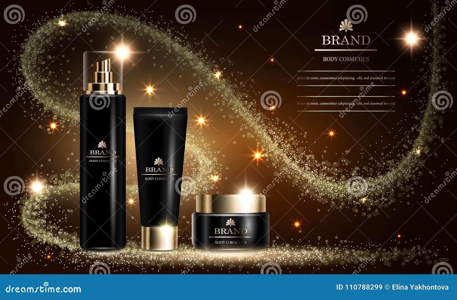 De reeksen van de schoonheidsmiddelenschoonheid, model, advertenties voor de room van de premienevel voor huid geven Vector illus