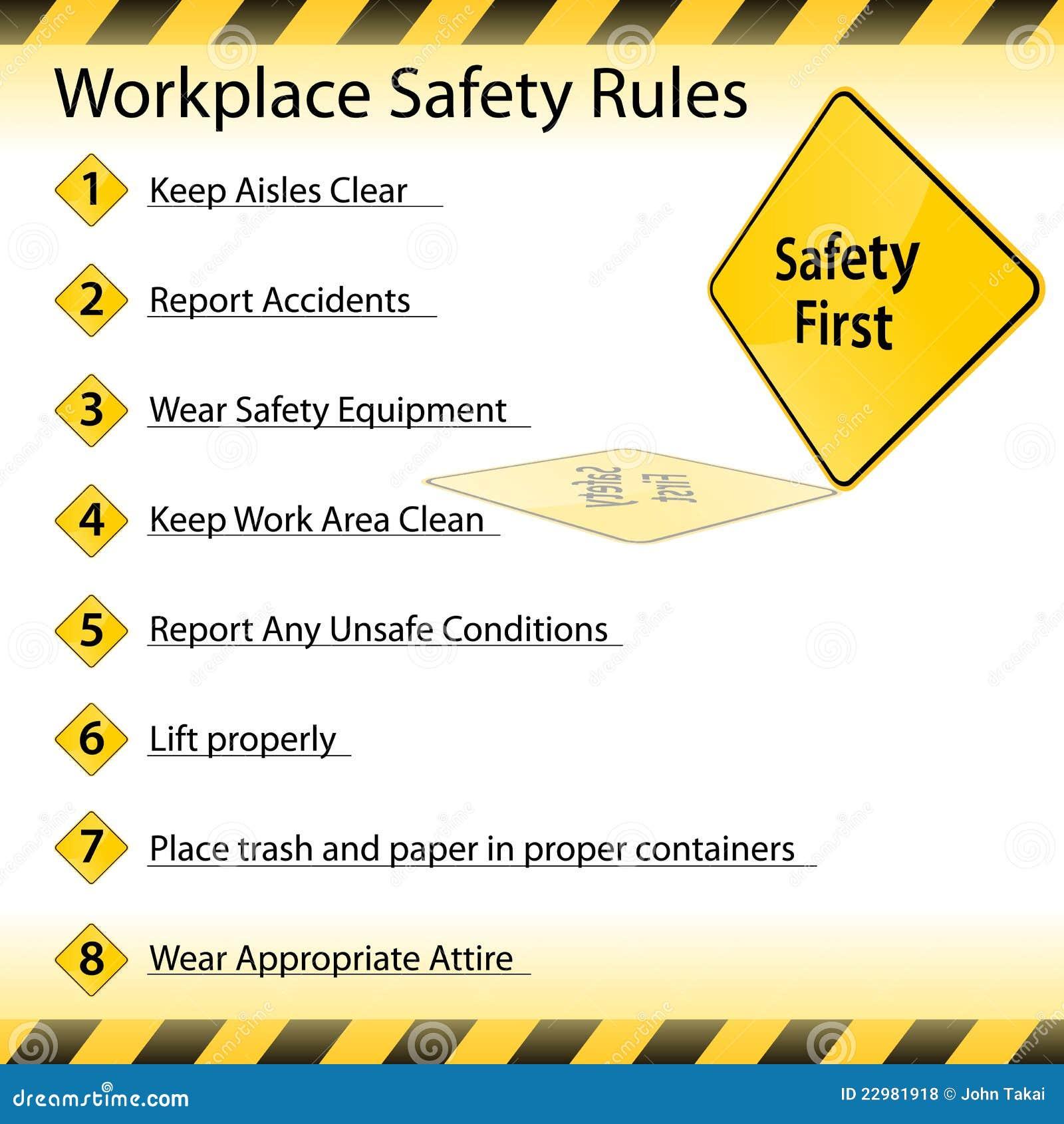 de regels van de veiligheid van de werkplaats royalty