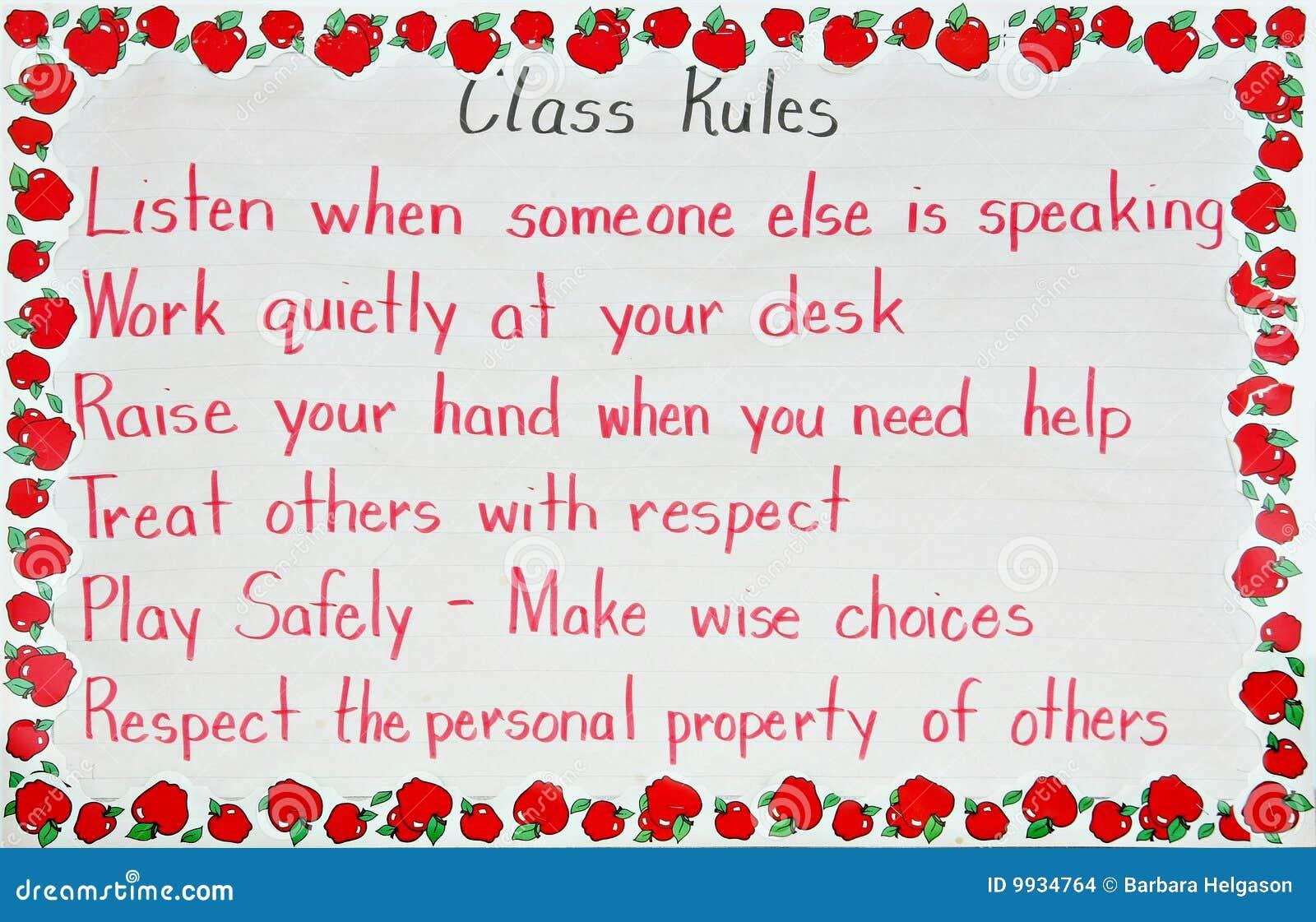 De regels van het klaslokaal