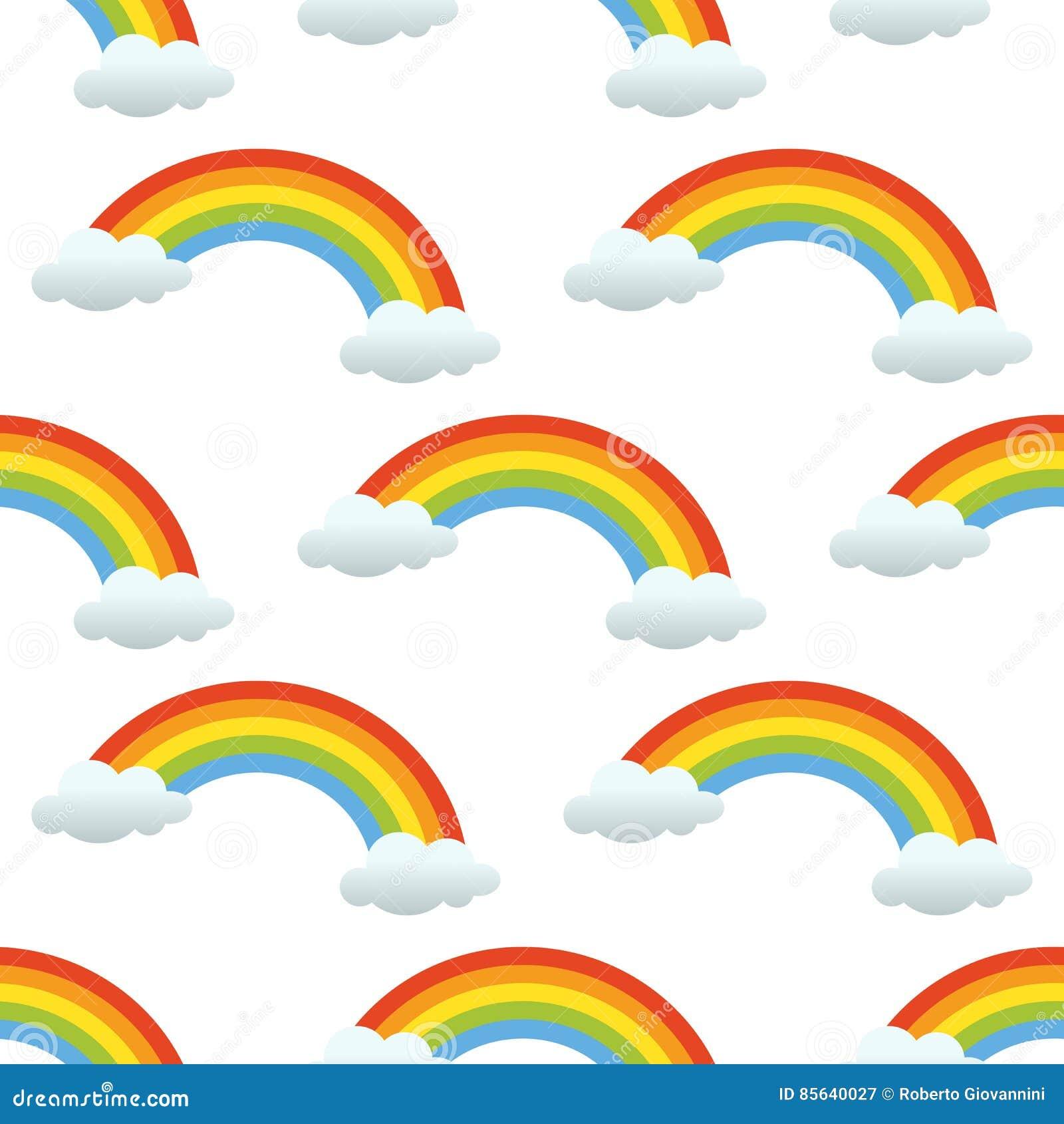 De regenboog betrekt Naadloos Patroon op Wit
