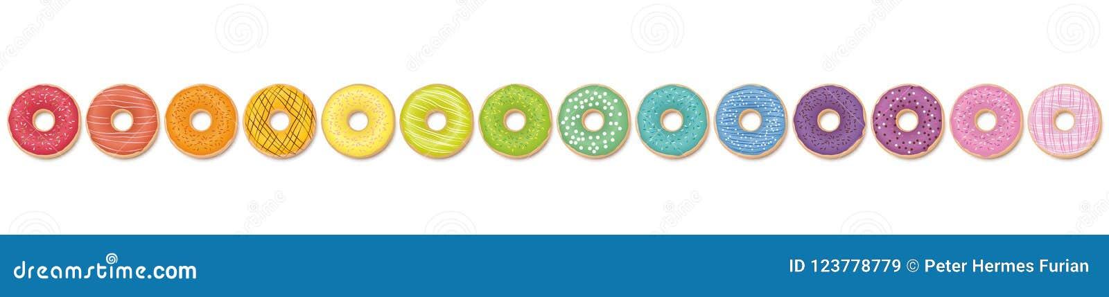 De Regenboog van het Donutspatroon in een Lijn wordt gekleurd die