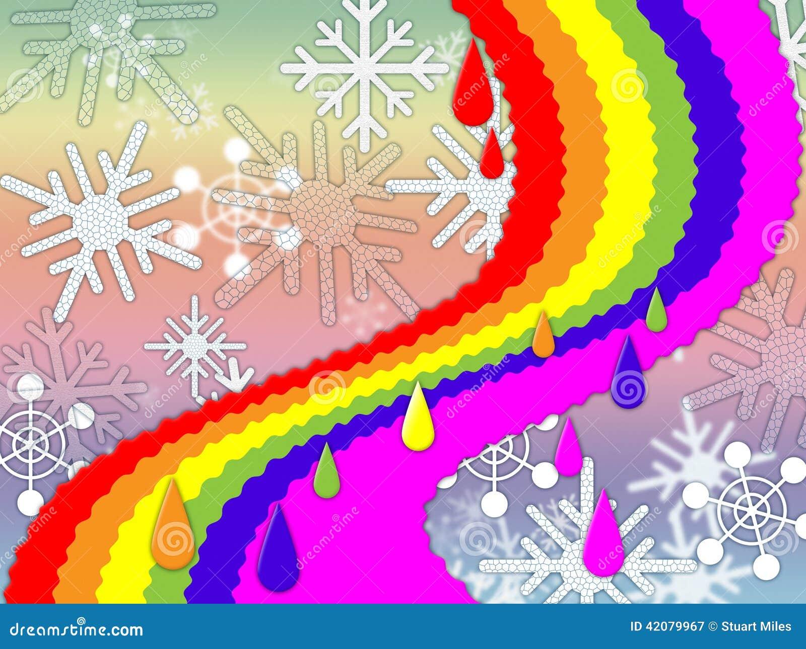De regenboogachtergrond betekent de Sneeuwende Winter en Belofte