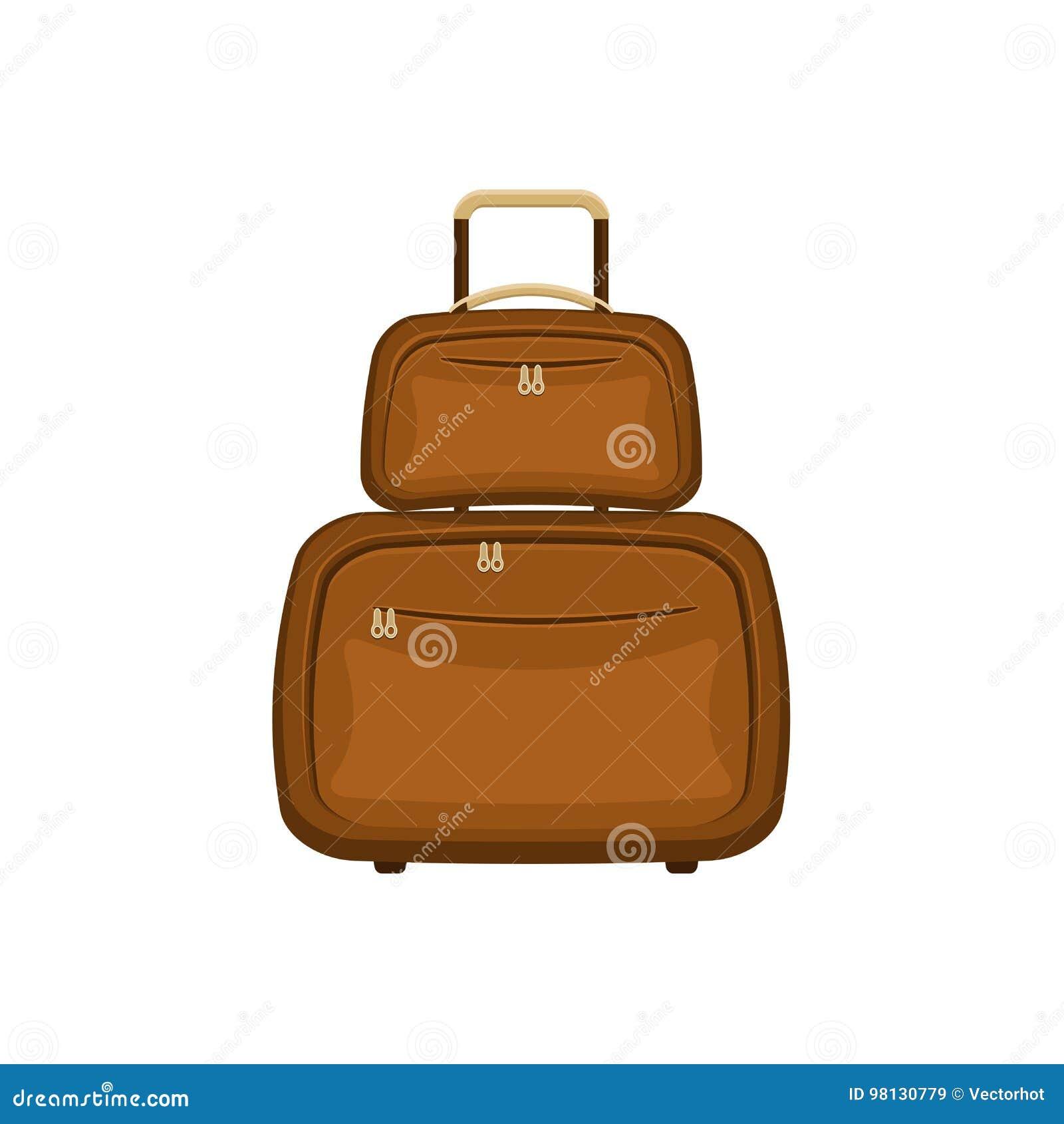 De reis doet koffers op geïsoleerde witte achtergrond in zakken Het handvatbagage van de de zomer bruine reis Het moderne Concept