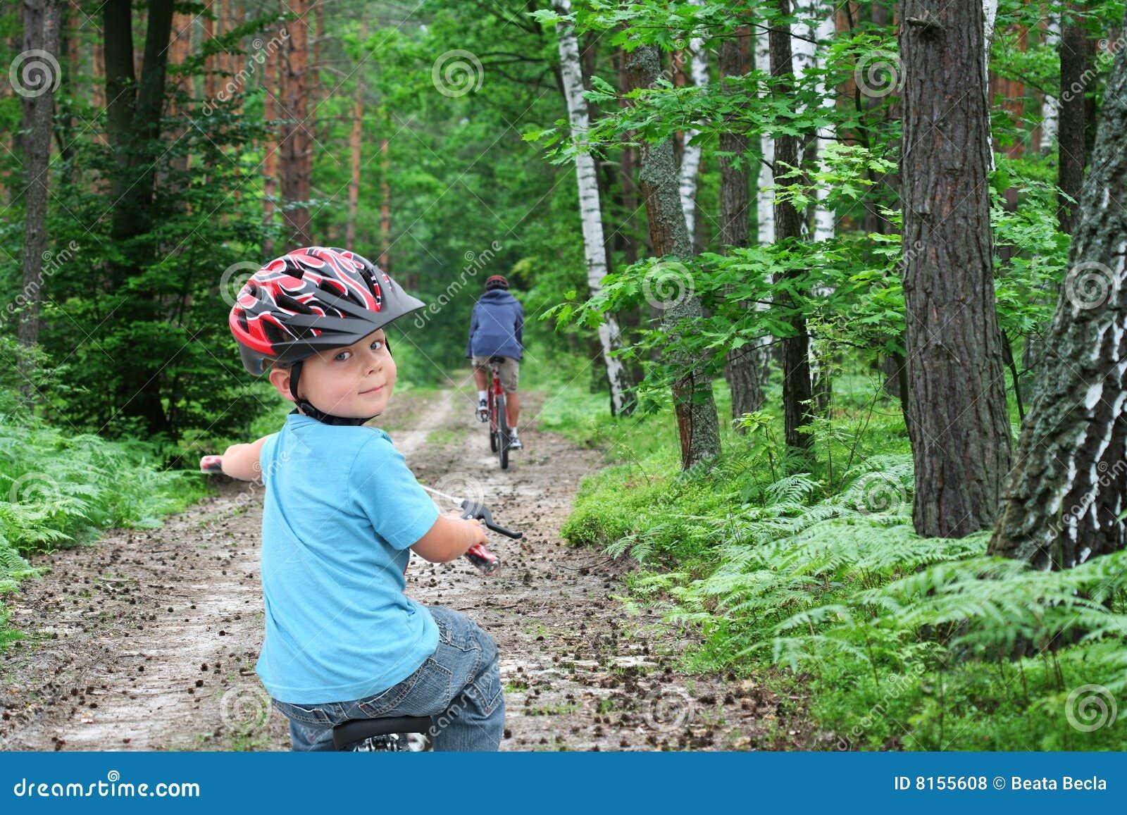 De reis van de fiets door het bos