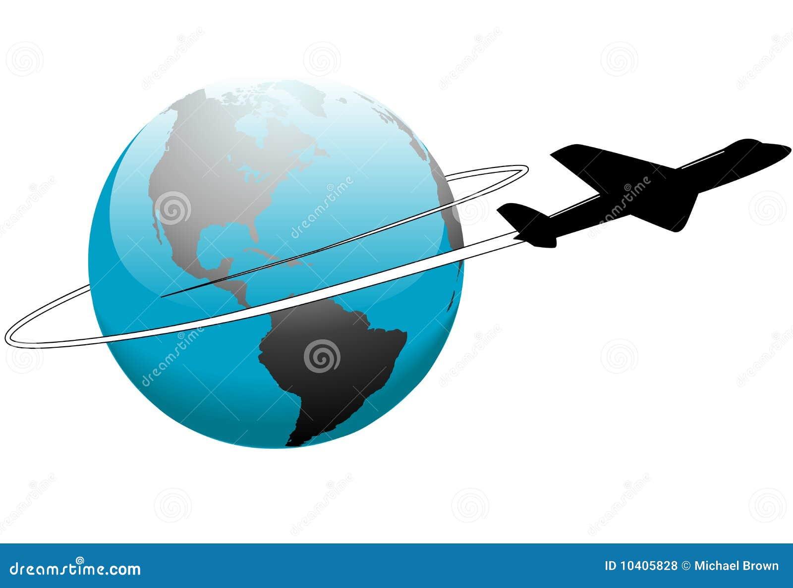 De reis van de luchtvaartlijn rond het vliegtuig van de aarde van de wereld vector illustratie - De thuisbasis van de wereld chesterfield ...
