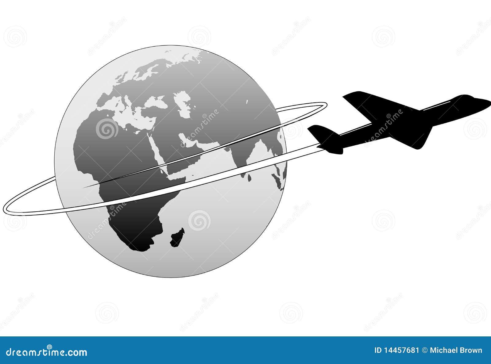 De Reis Van Luchtvaartlijn Rond Het Vliegtuig