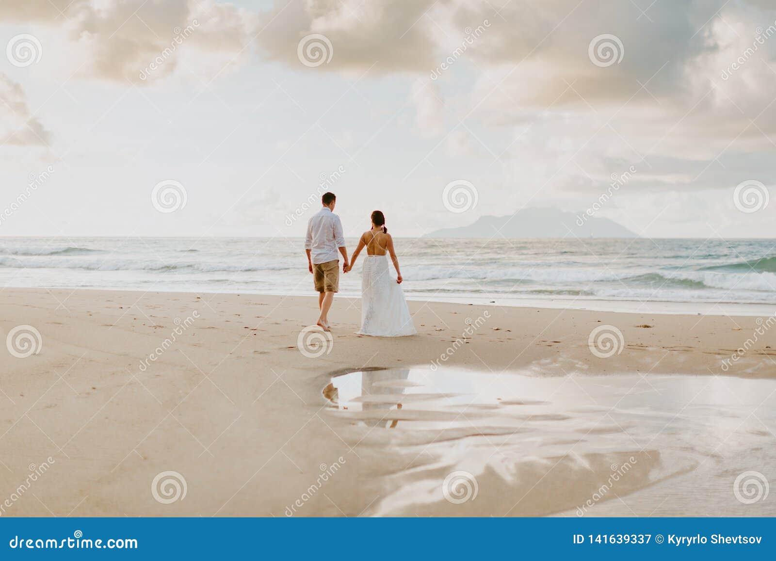 De reis van het huwelijkspaar op strand in keerkringen