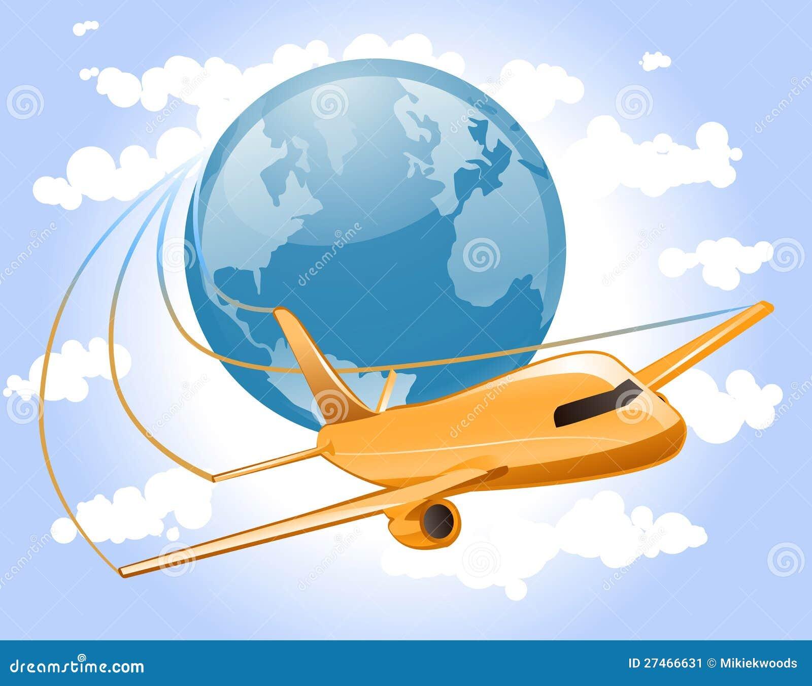 De reis van het vliegtuig van de wereld stock afbeelding afbeelding 27466631 - Vloerlamp van de wereld ...