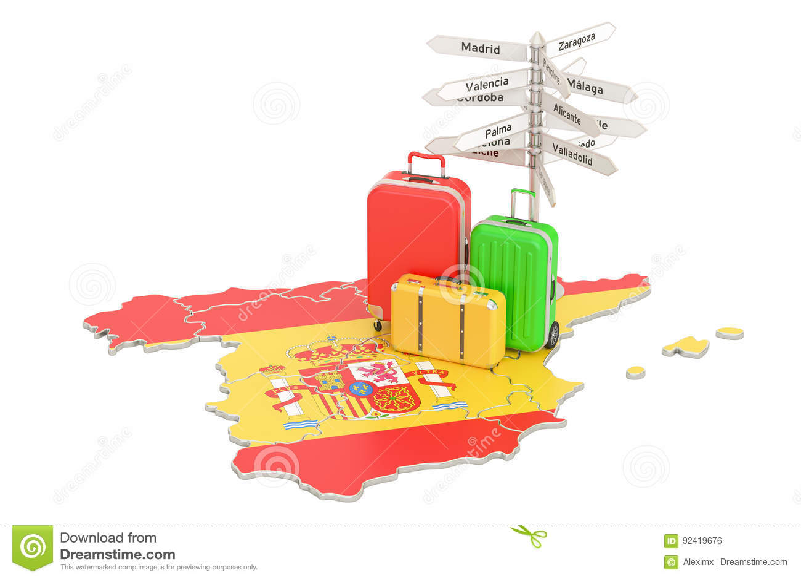 De reisconcept van Spanje Spaanse vlag op kaart met koffers en sig