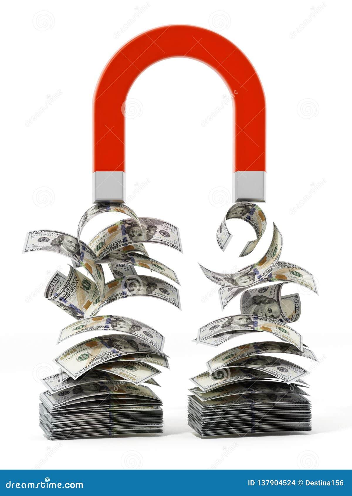 De rekeningen van de de tekeningsdollar van de geldmagneet 3D Illustratie