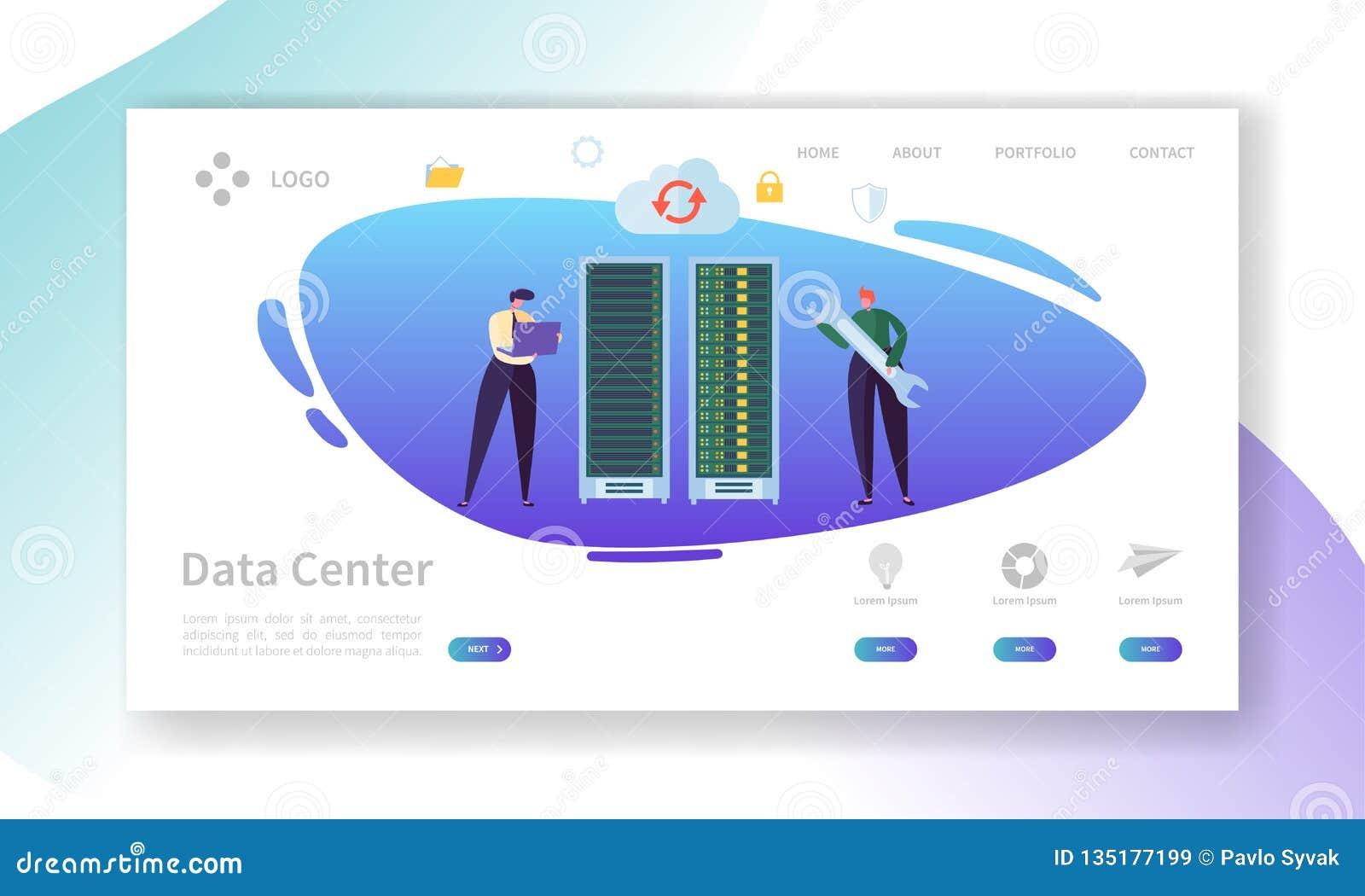 De Reparatielandingspagina van de Data Centerserver De Opslag van technicuscharacter support professional met Laptop Database het