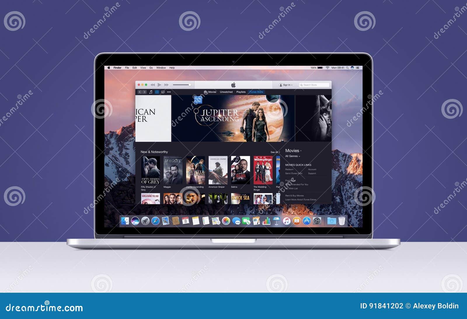 De Retina van Apple MacBook Pro met open iTunes-films app