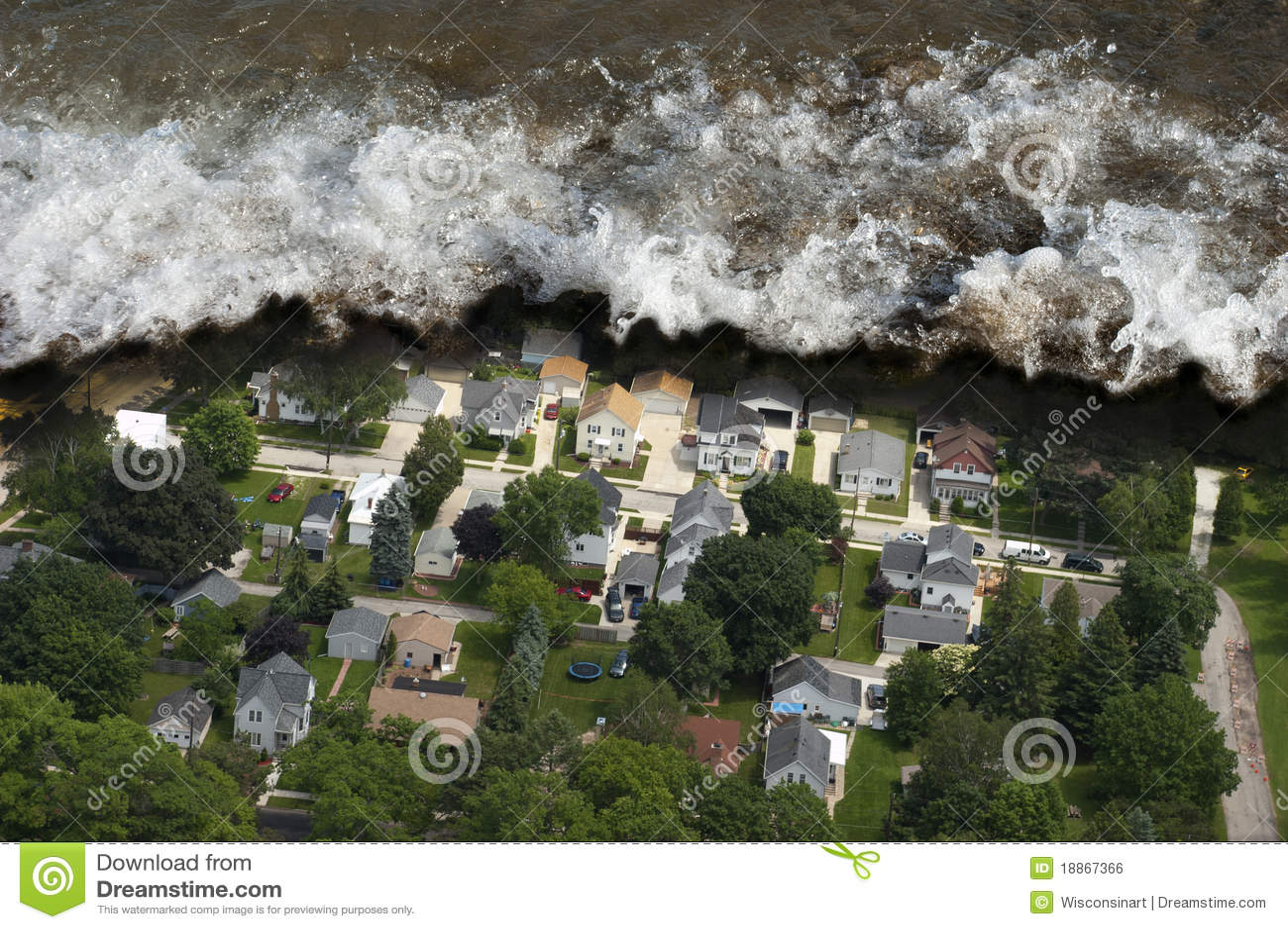 De reuze Natuurramp van het Golf Tsunami