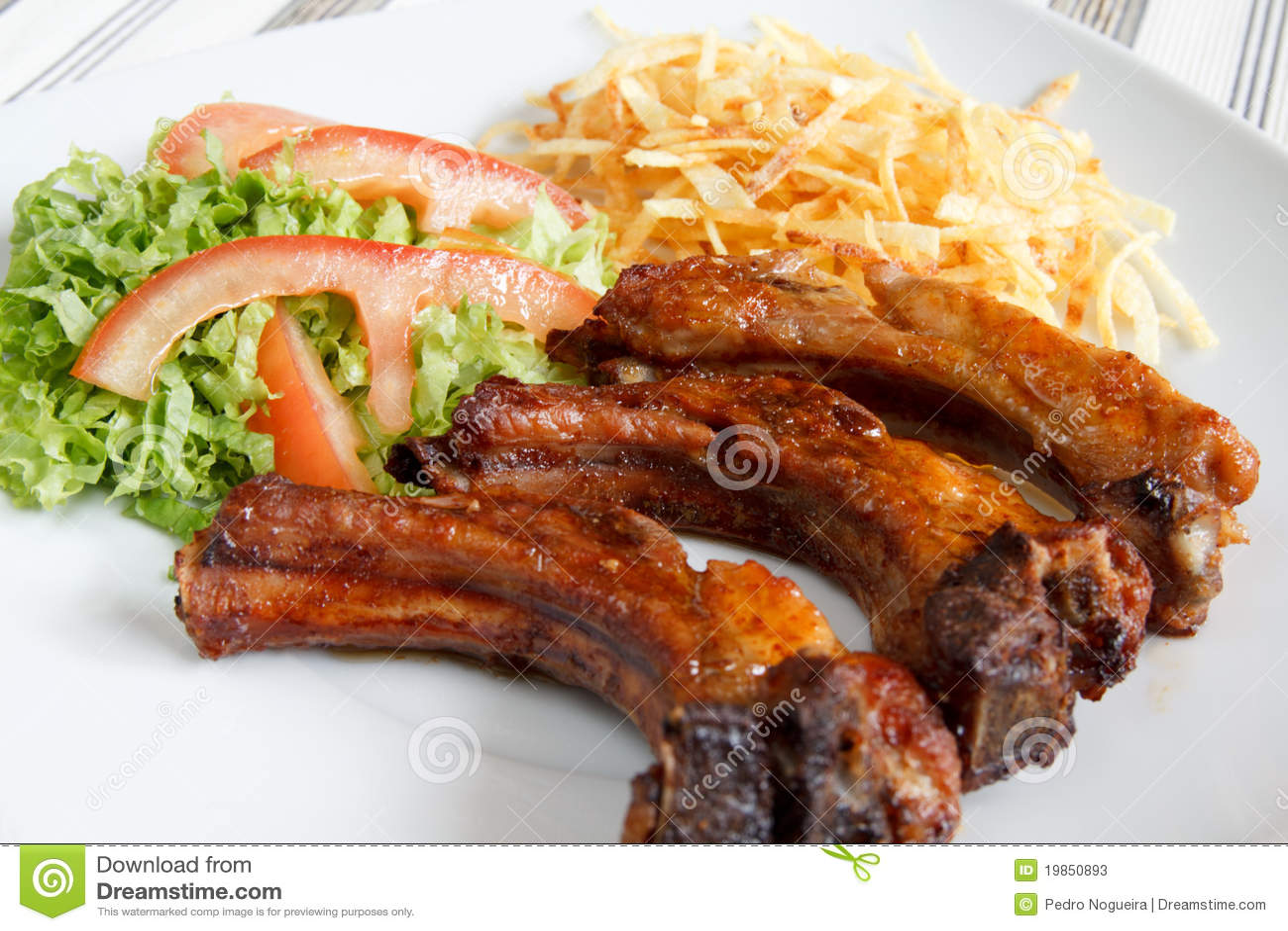 De ribben van het varkensvlees