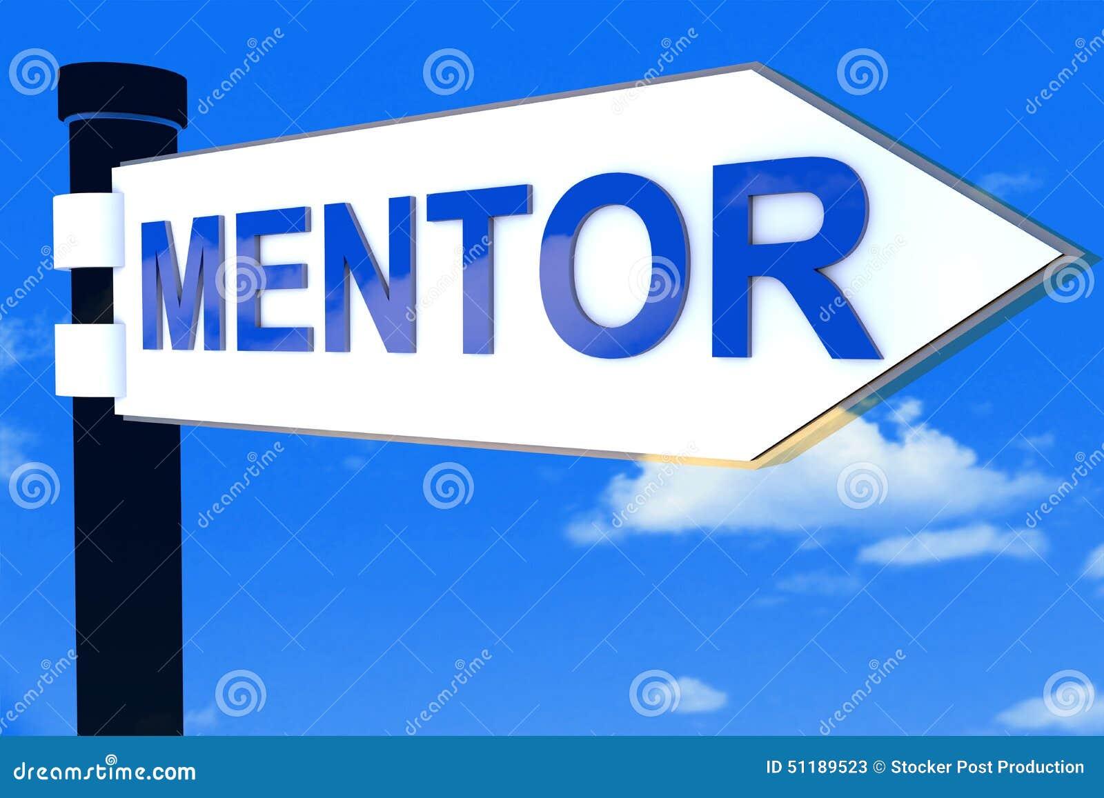 De richtingsteken van de mentorweg