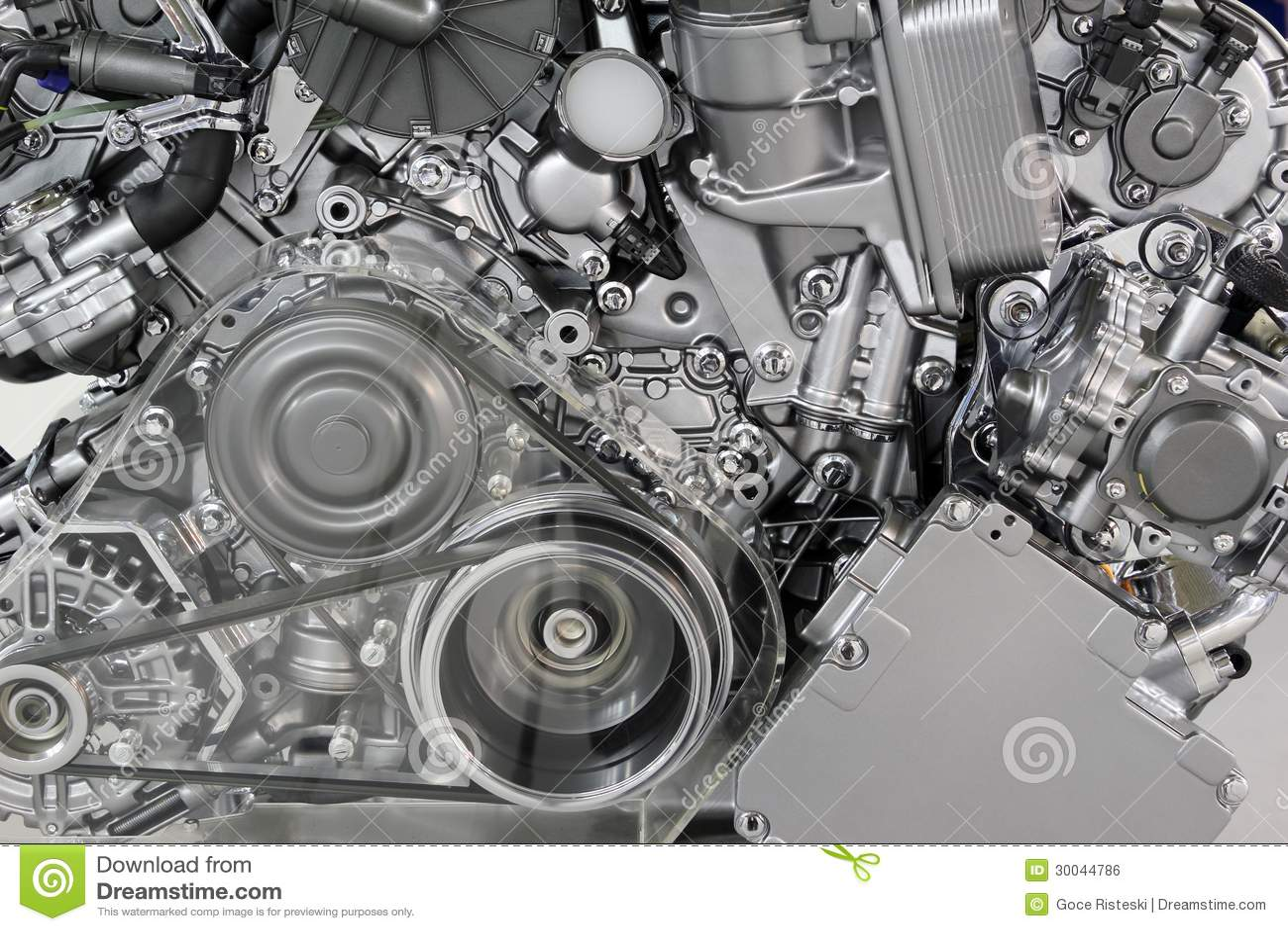 de riem en de toestellen van de motor van een auto stock foto