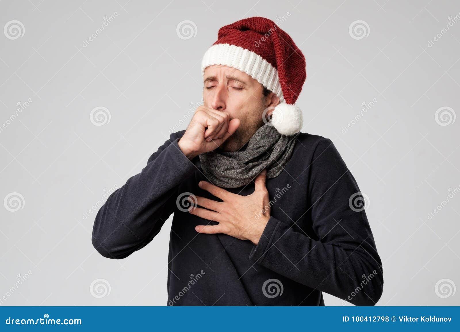 De rijpe mens is ziek van koude of longontsteking