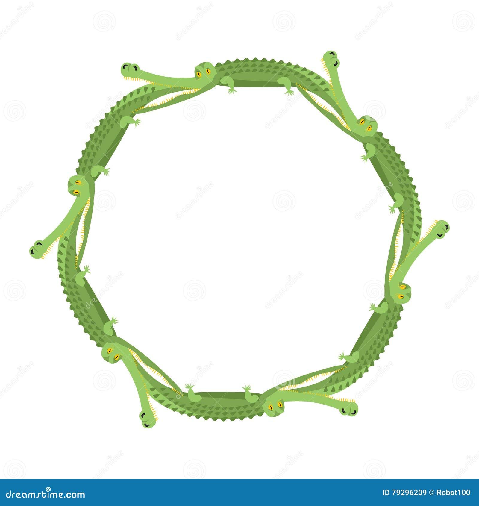 De ring van het krokodilkader Oud totem etnisch ornament alligators