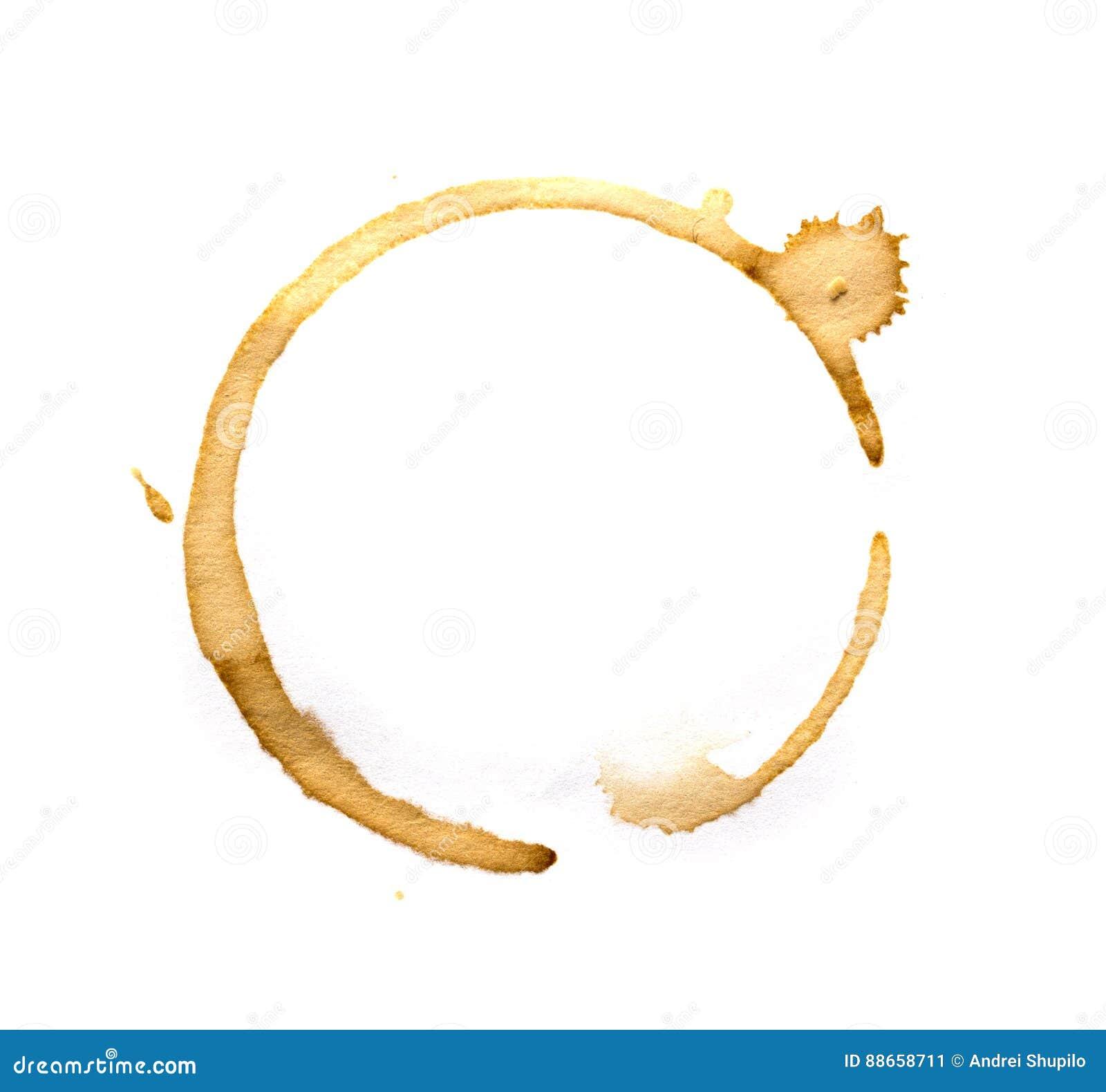 De ringen van de koffiekop op een wit worden geïsoleerd dat