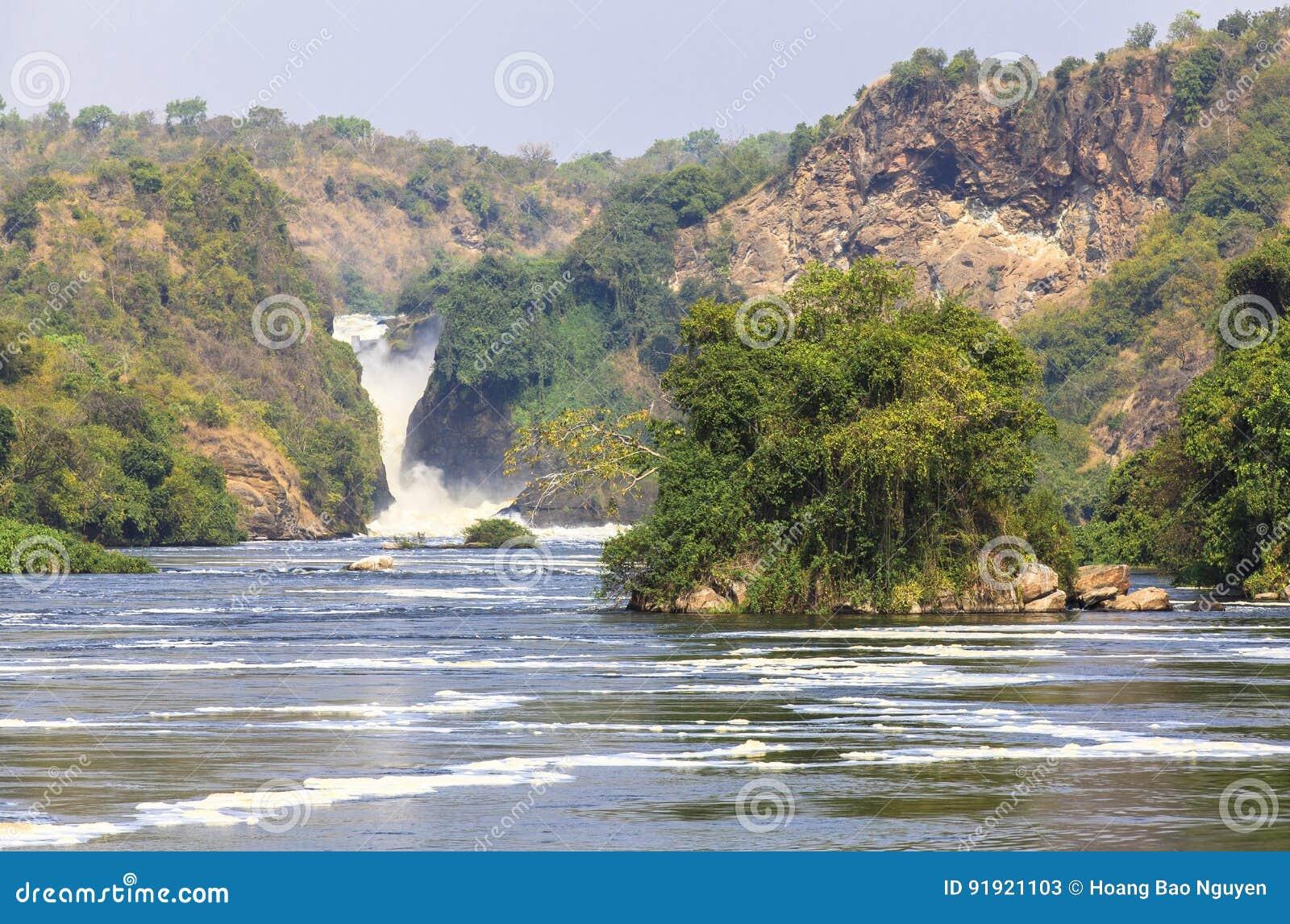 De rivier van Nijl in Murchison valt Nationaal Park, Oeganda